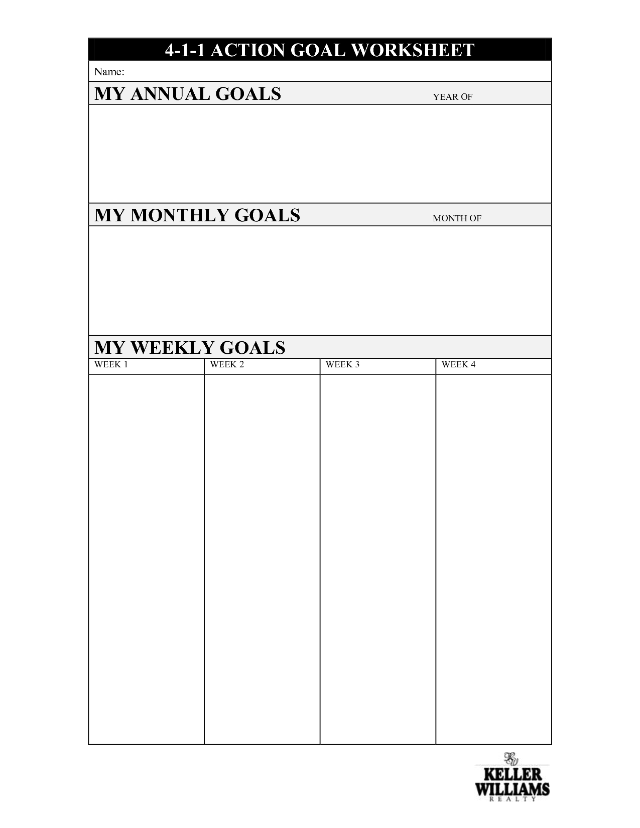 13 Best Images Of My Goals Worksheet