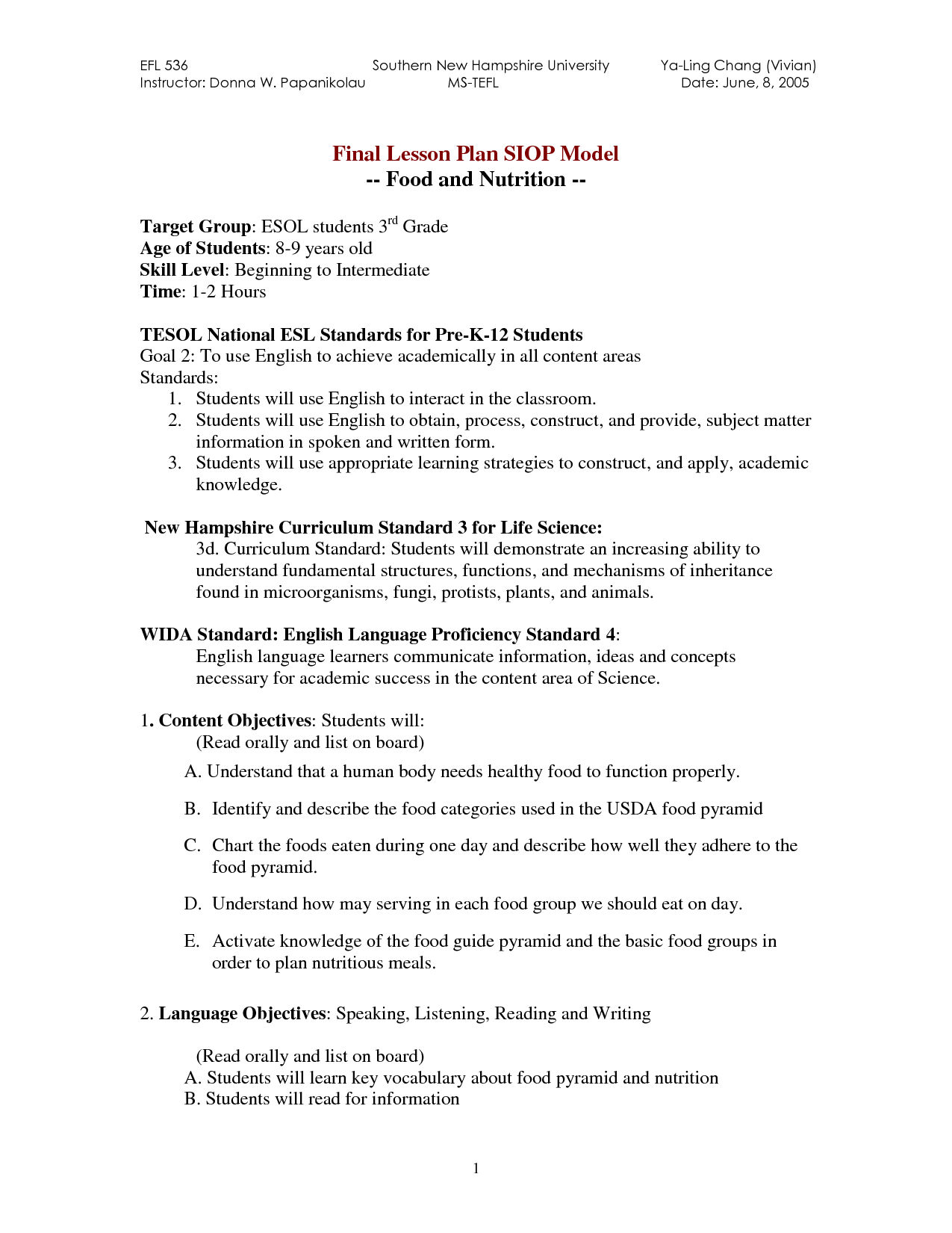 Food Nutrient Worksheet