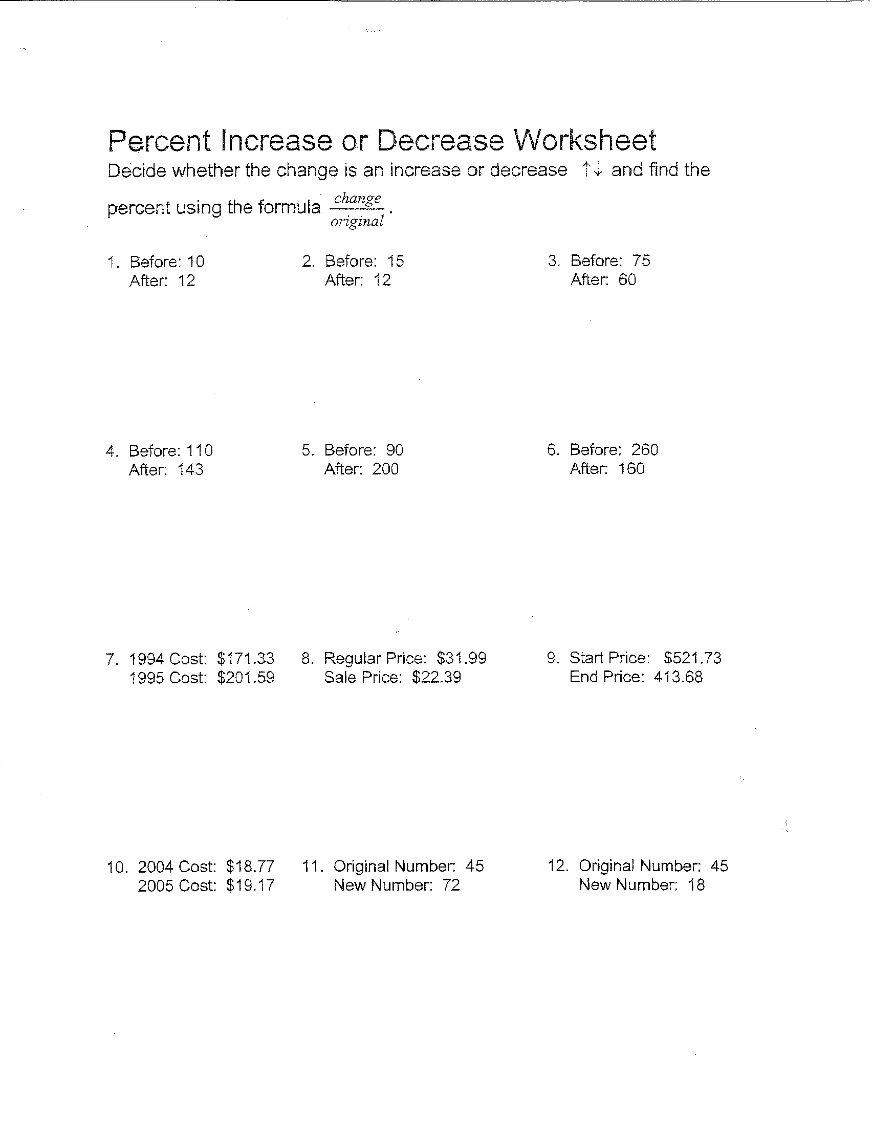 Worksheet Percent Increase And Decrease Worksheets Grass Fedjp Worksheet Study Site