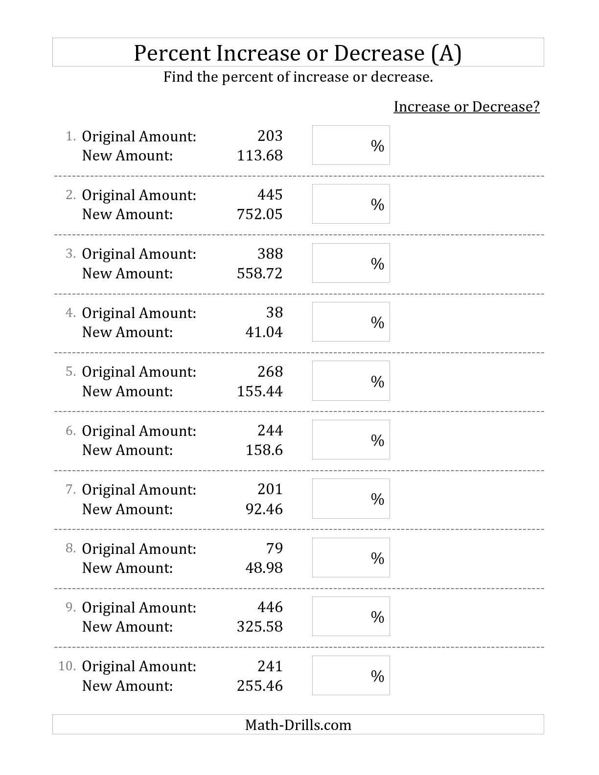 A Decimal To Percent Worksheet 7th Grade Math