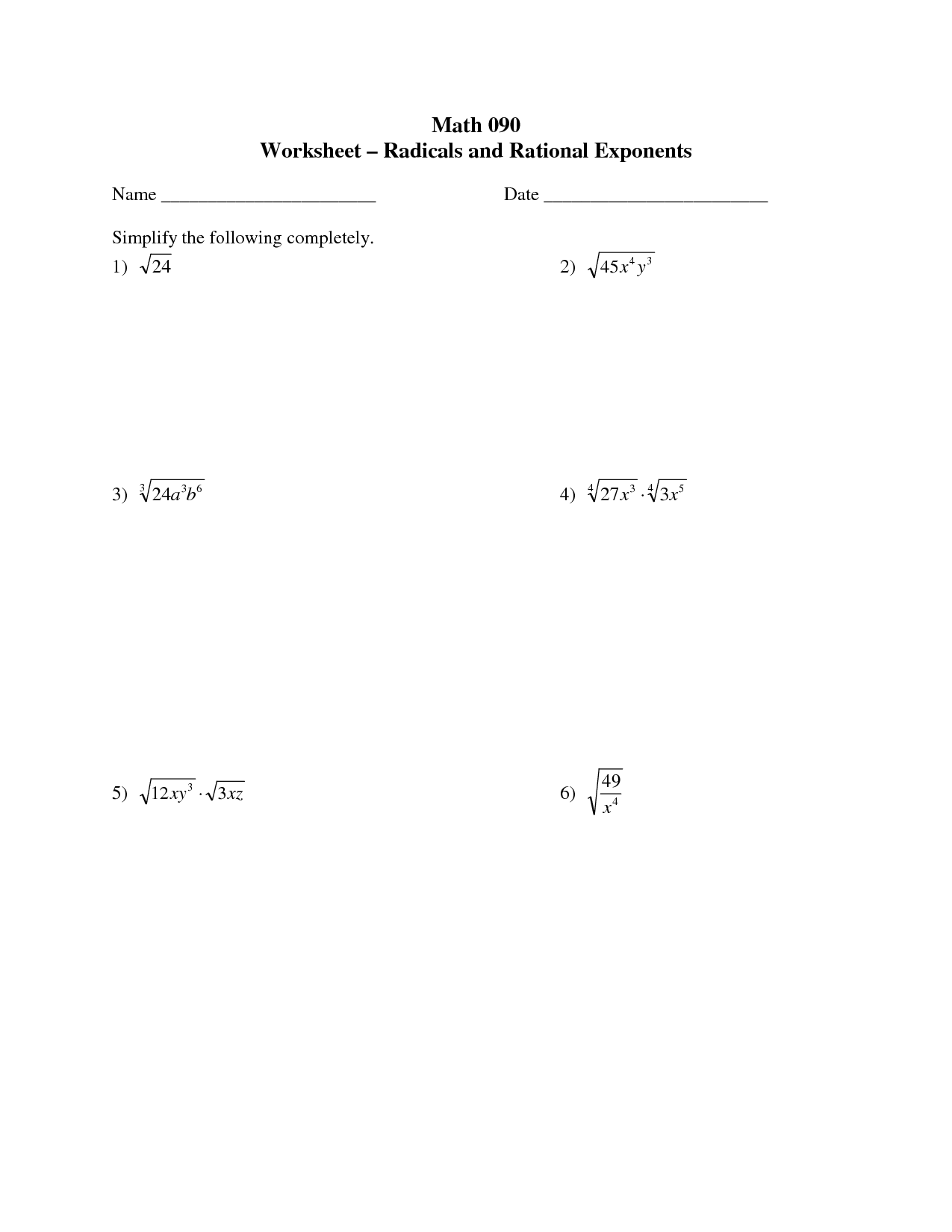 Exponents Worksheet Grade 12