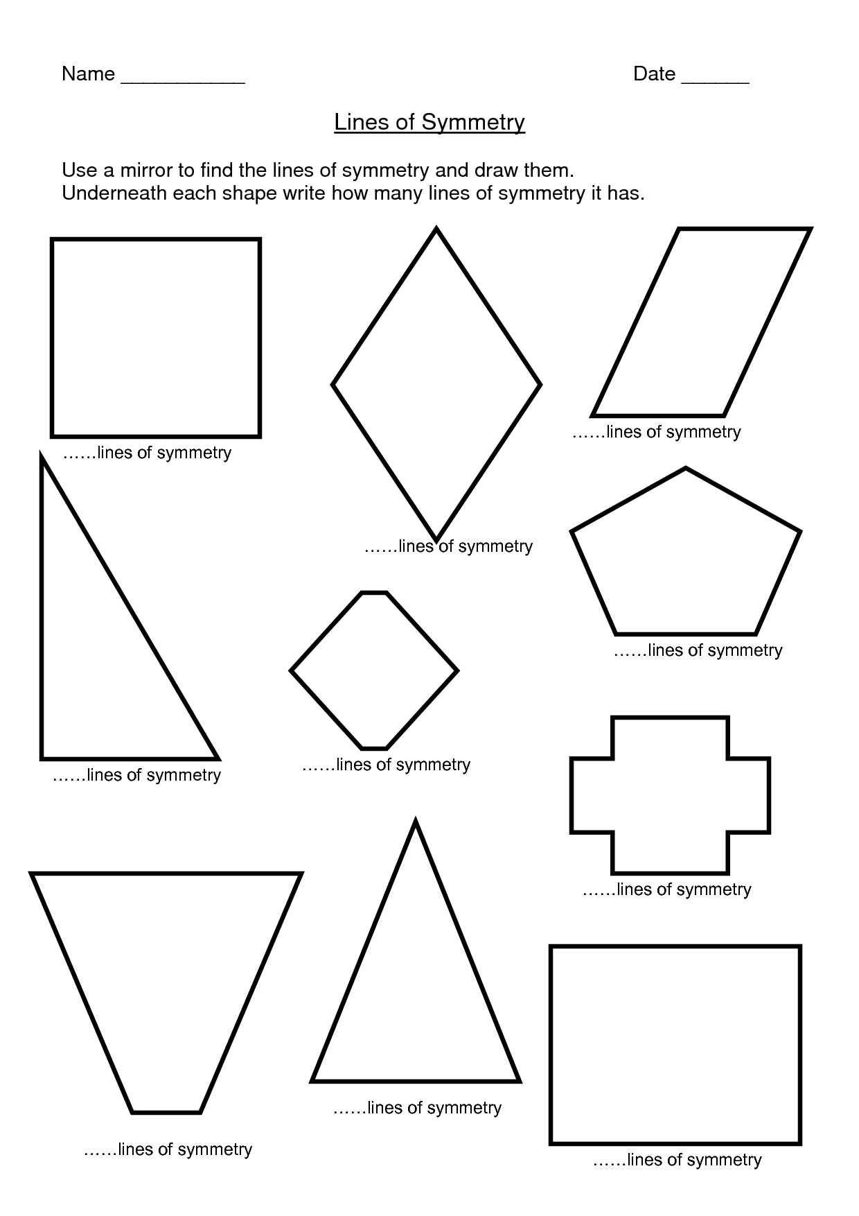Find The Line Of Symmetry Worksheets
