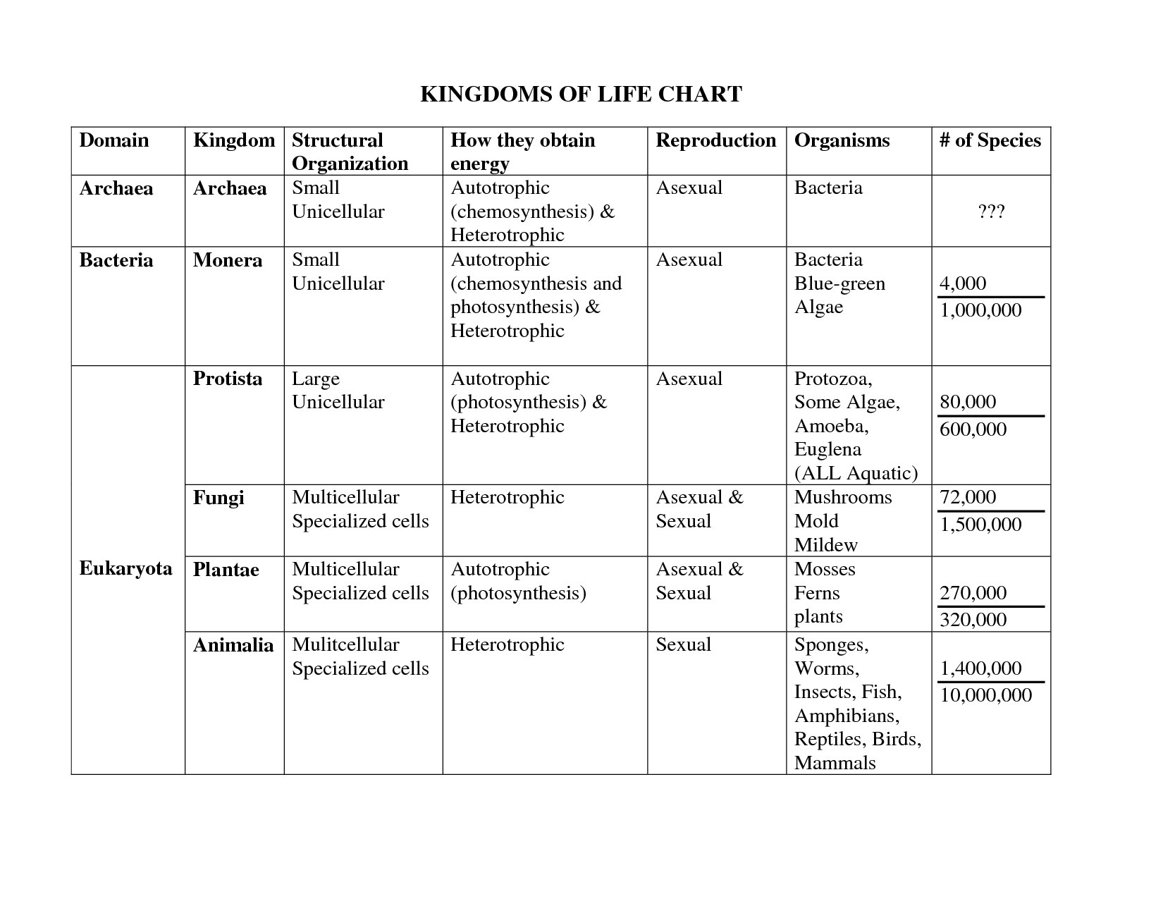 7 Best Images Of 6 Kingdom Classification Worksheet