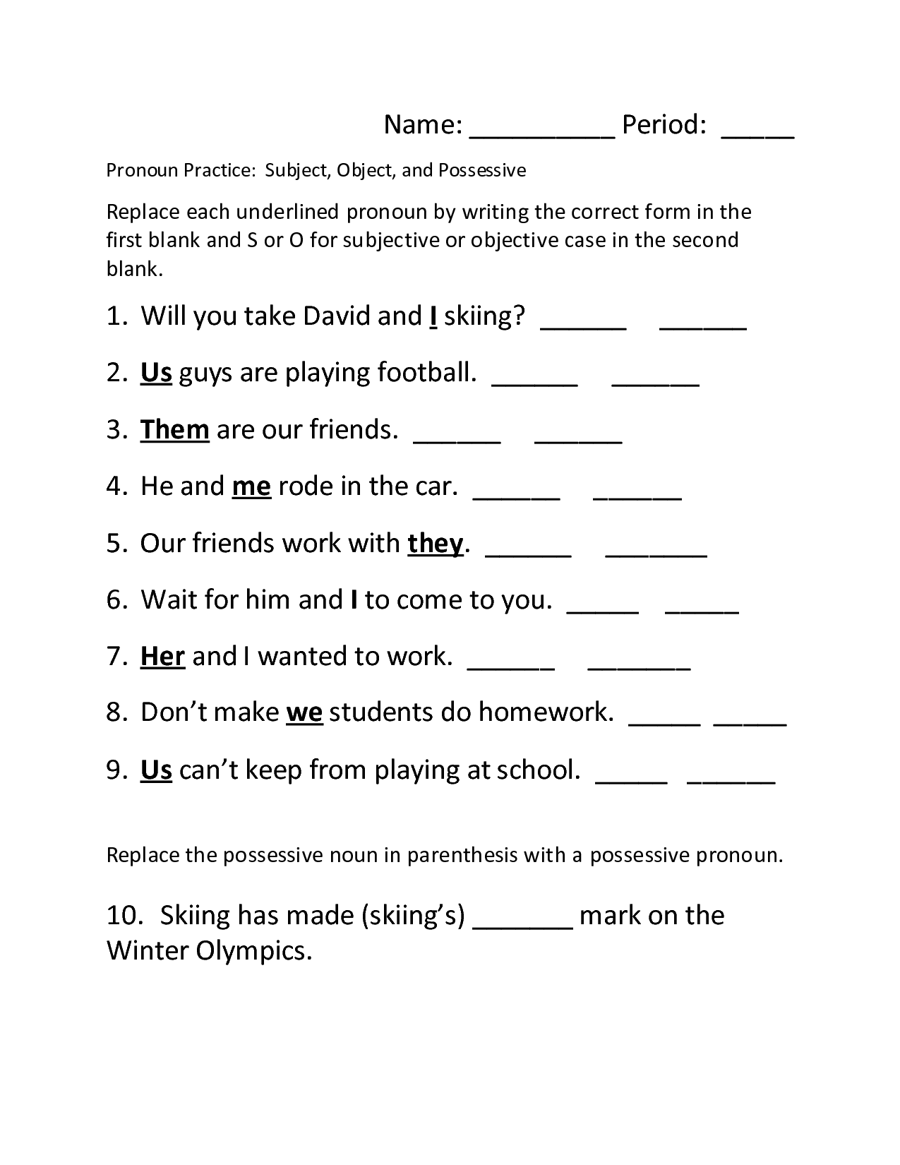 14 Best Images Of Spanish Pronouns Worksheet