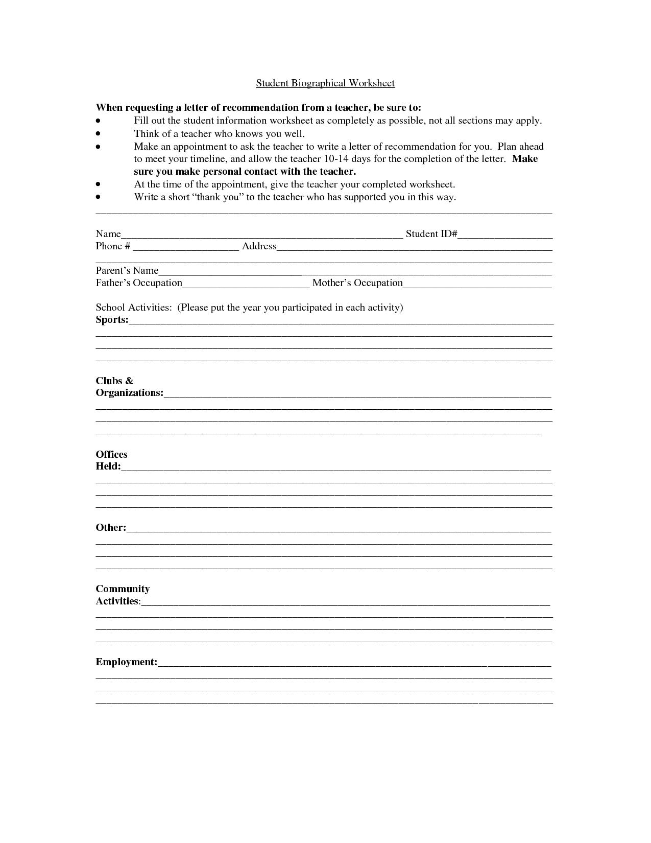 14 Best Images Of Student Information Worksheet