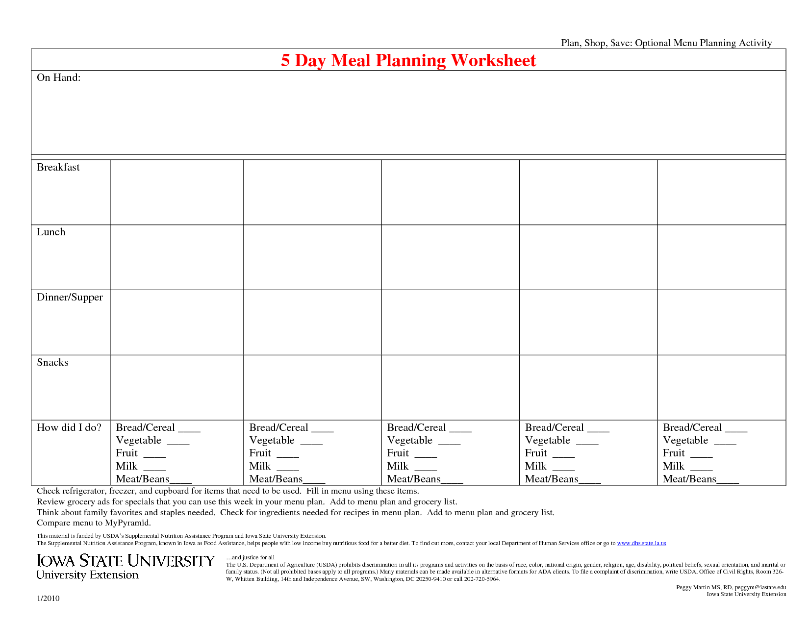 Comfortable 18 Meal Planning Templates Excel Word