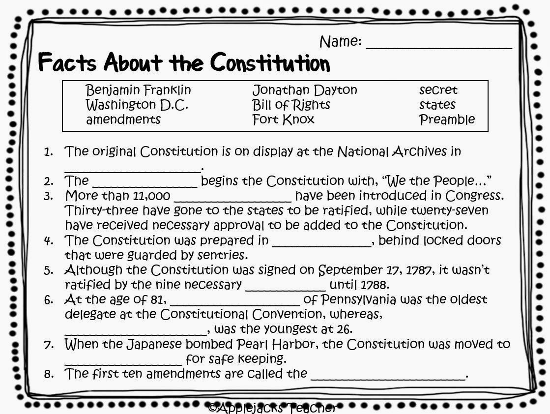 6 Best Images Of Amendment Worksheets For 5th Grade