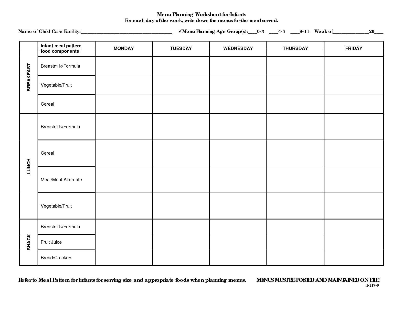 Menu Worksheet Template