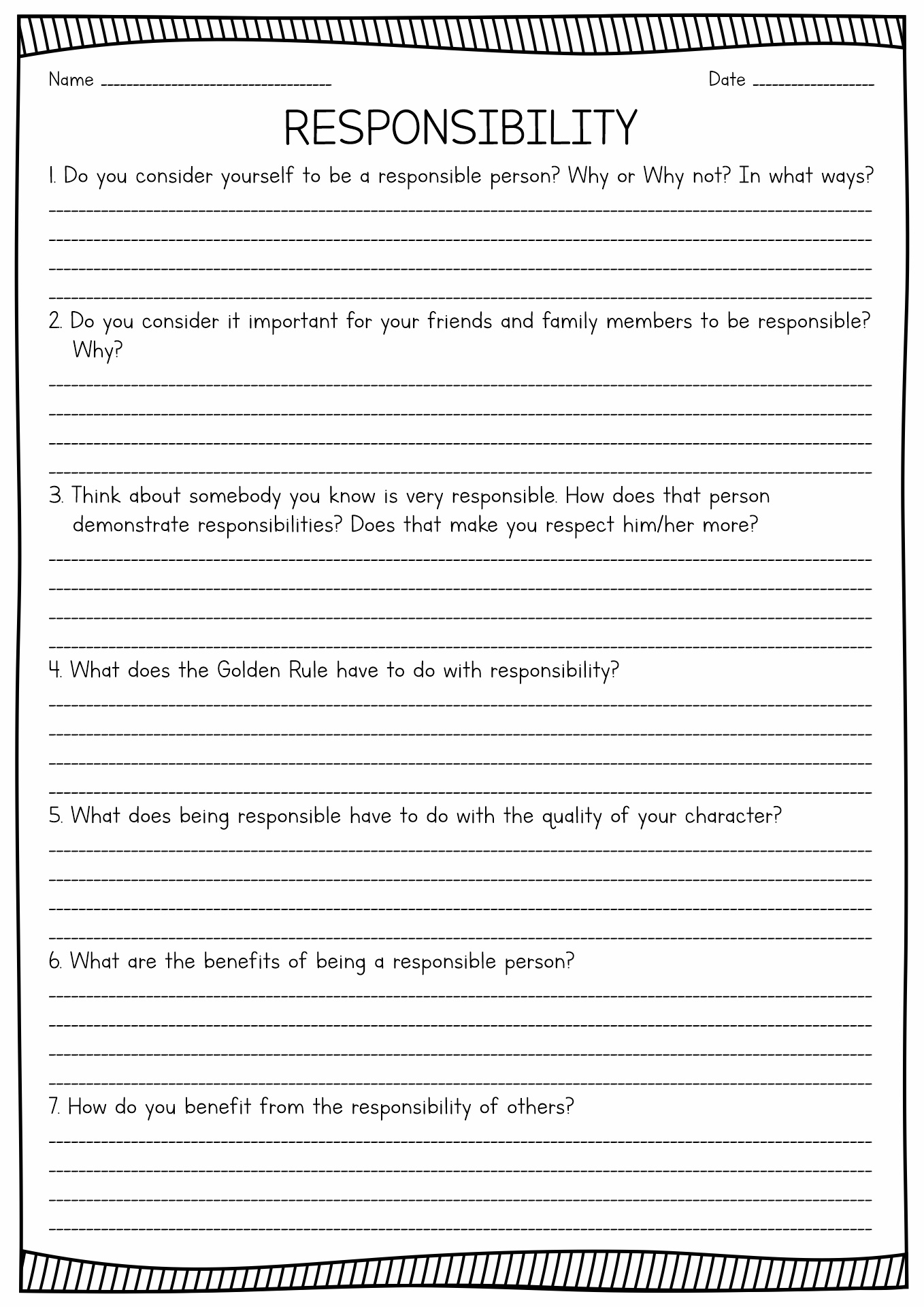 13 Best Images Of Printable Worksheets On Responsibility