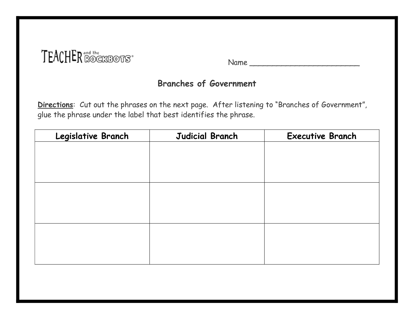 13 Best Images Of Three Branches Of Government Worksheet