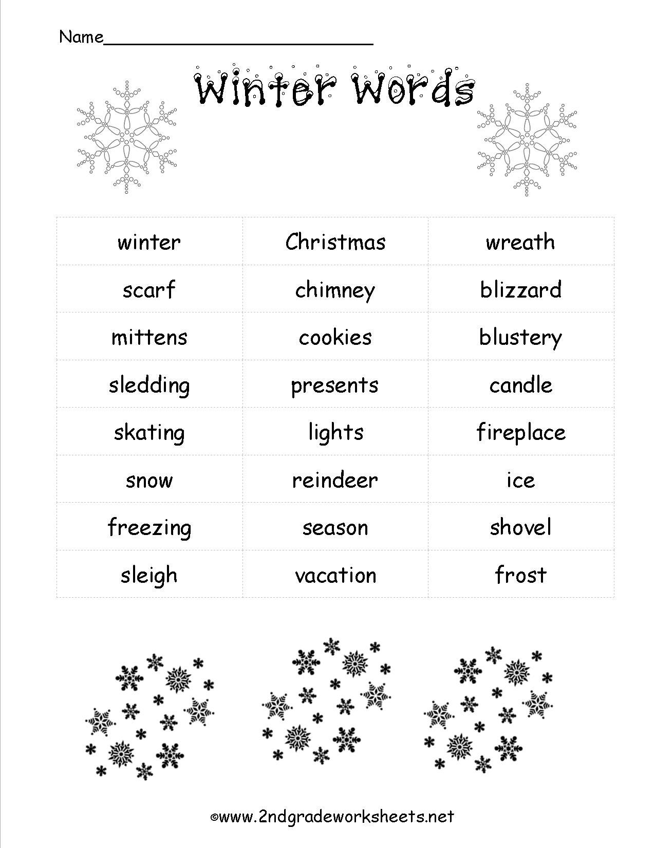 Christmas Nouns Worksheet For Kindergarten Christmas