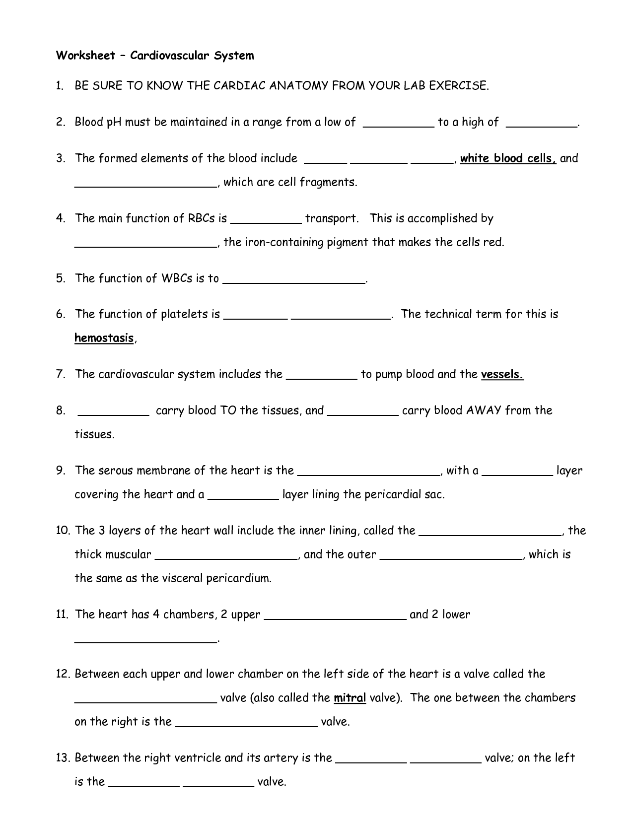 Cell Worksheet High School
