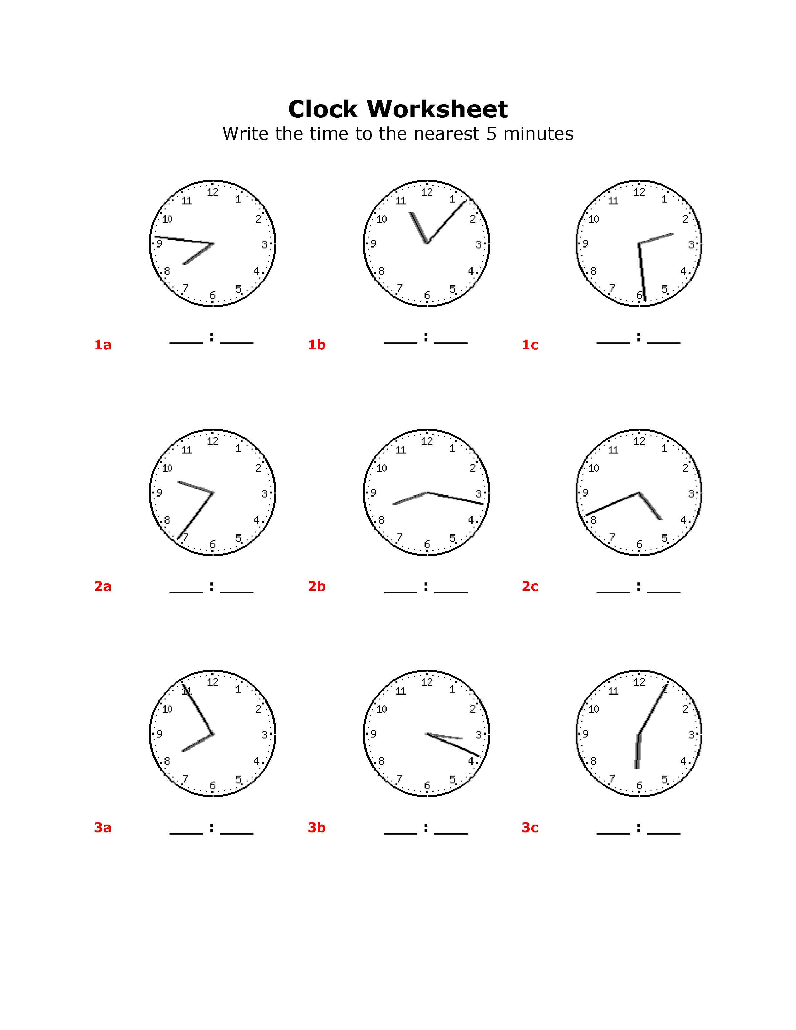 15 Best Images Of Clock Worksheets Grade 1