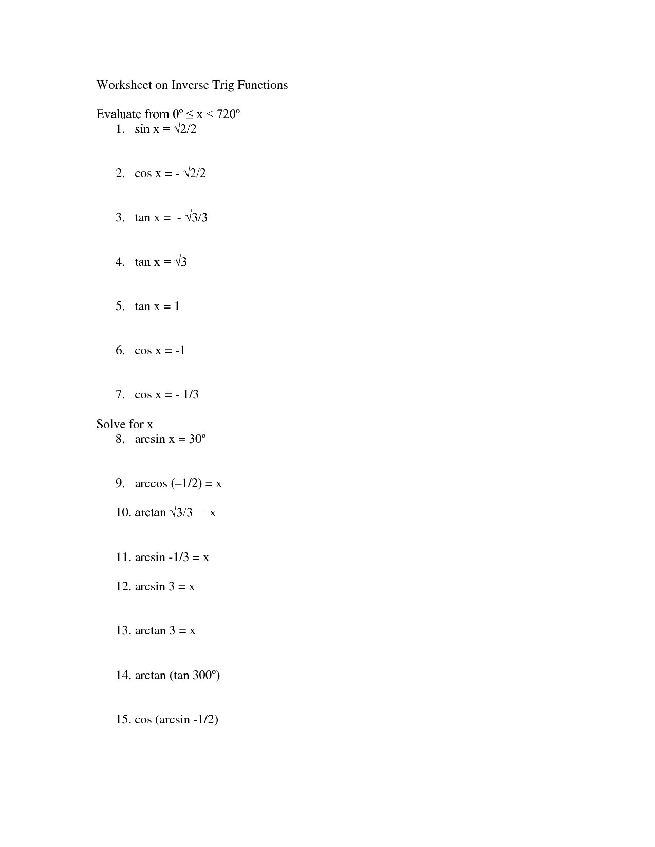 17 Best Images Of Inverse Sin Cos Tan Worksheet