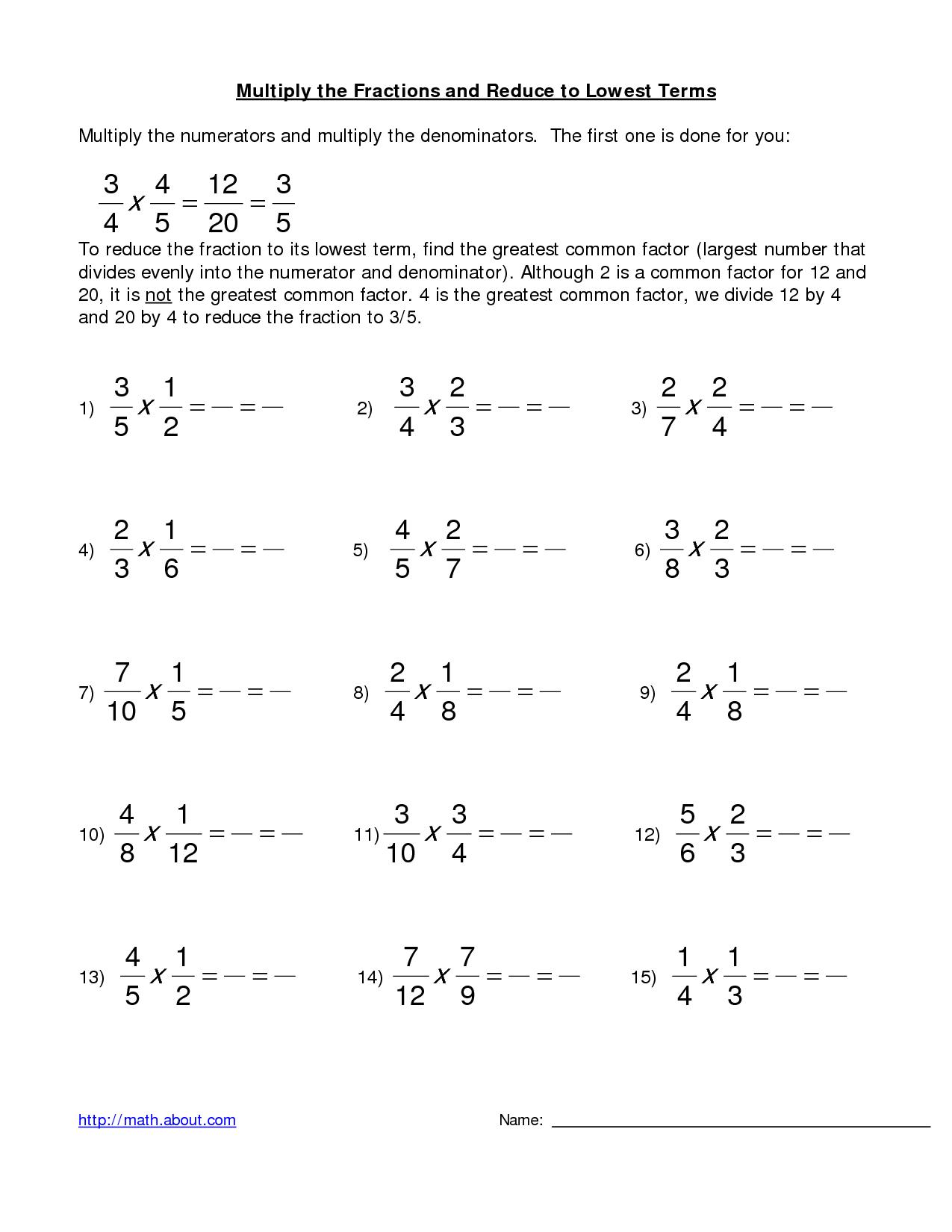 11 Best Images Of Multiplying Fraction Practice Worksheets