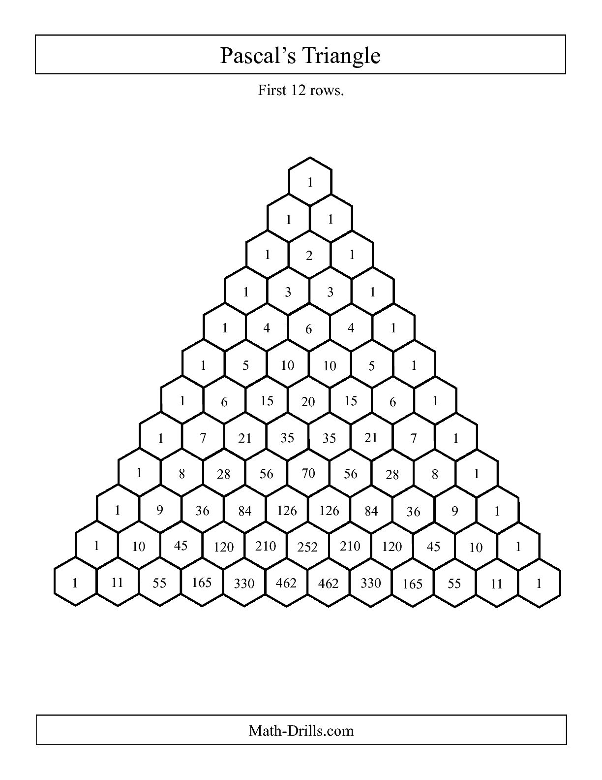 Pascal S Triangle Blank Worksheet
