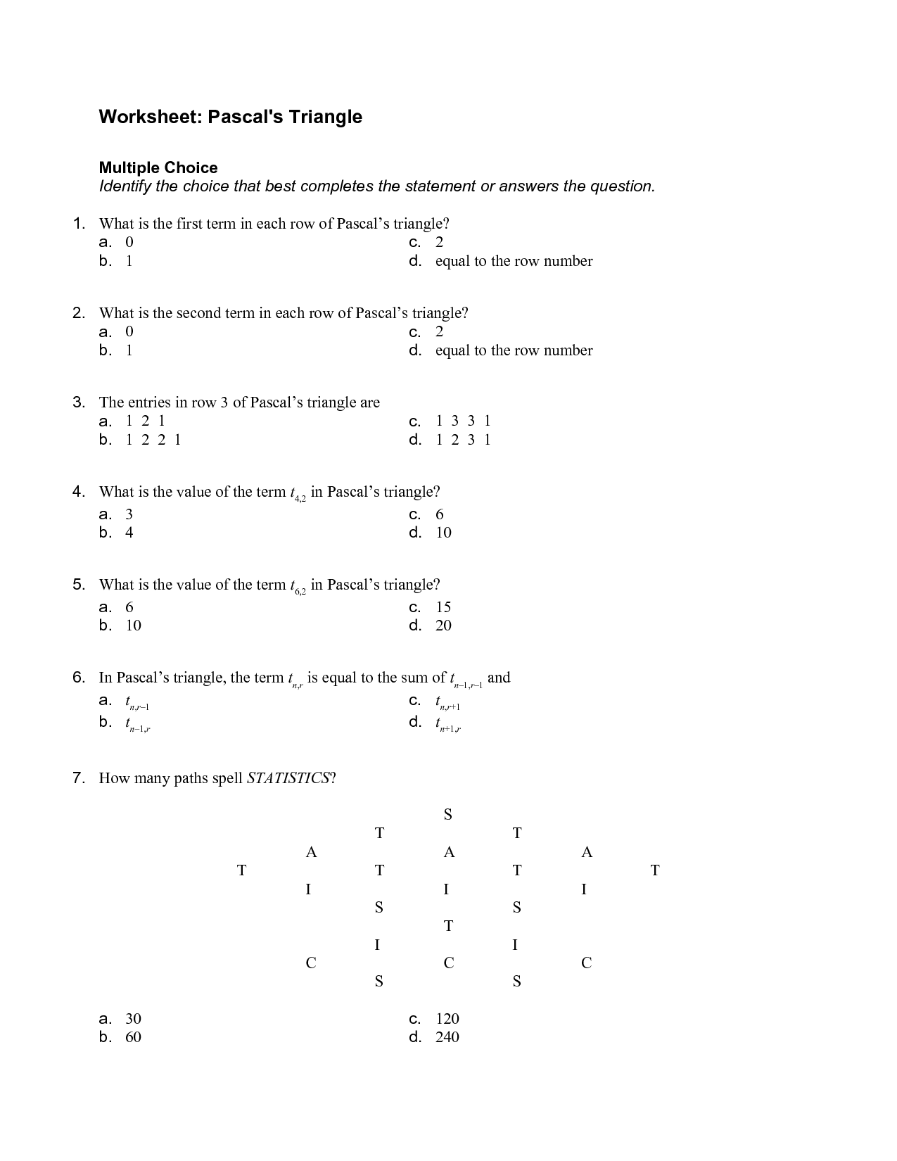 7 Best Images Of Pascal S Triangle Worksheet