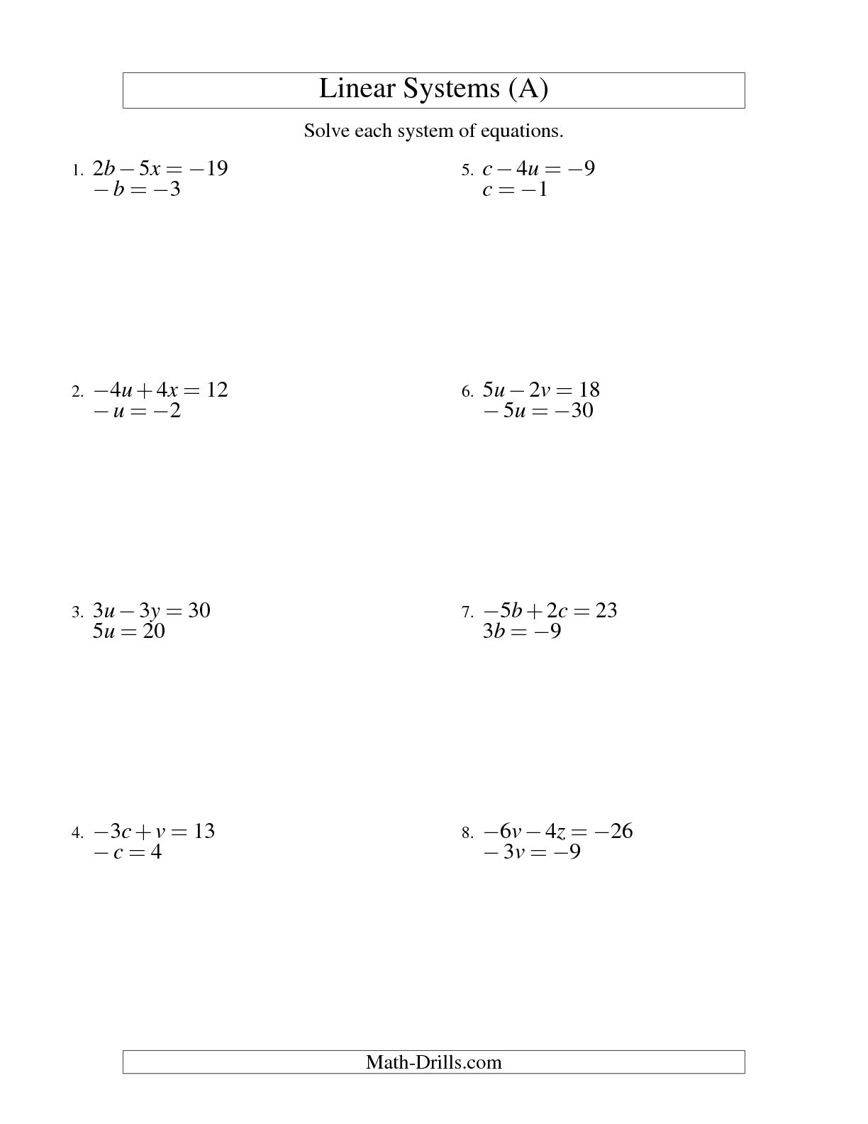 13 Best Images Of Algebra Linear Equations Worksheet