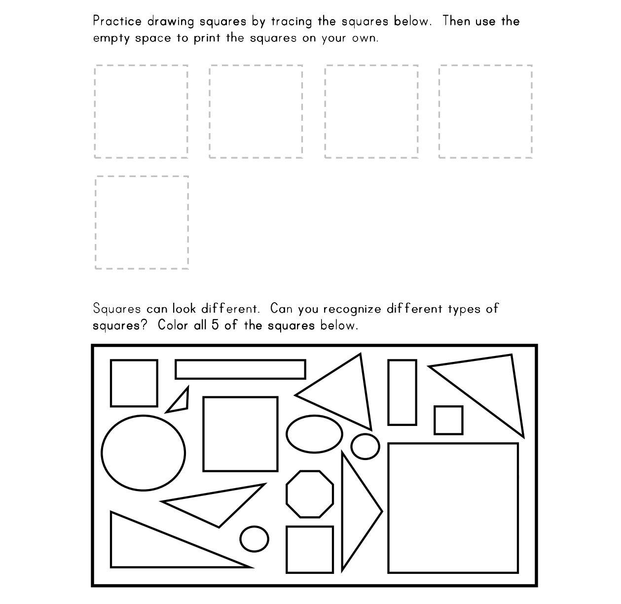 9 Best Images Of Square Worksheets For Kindergarten