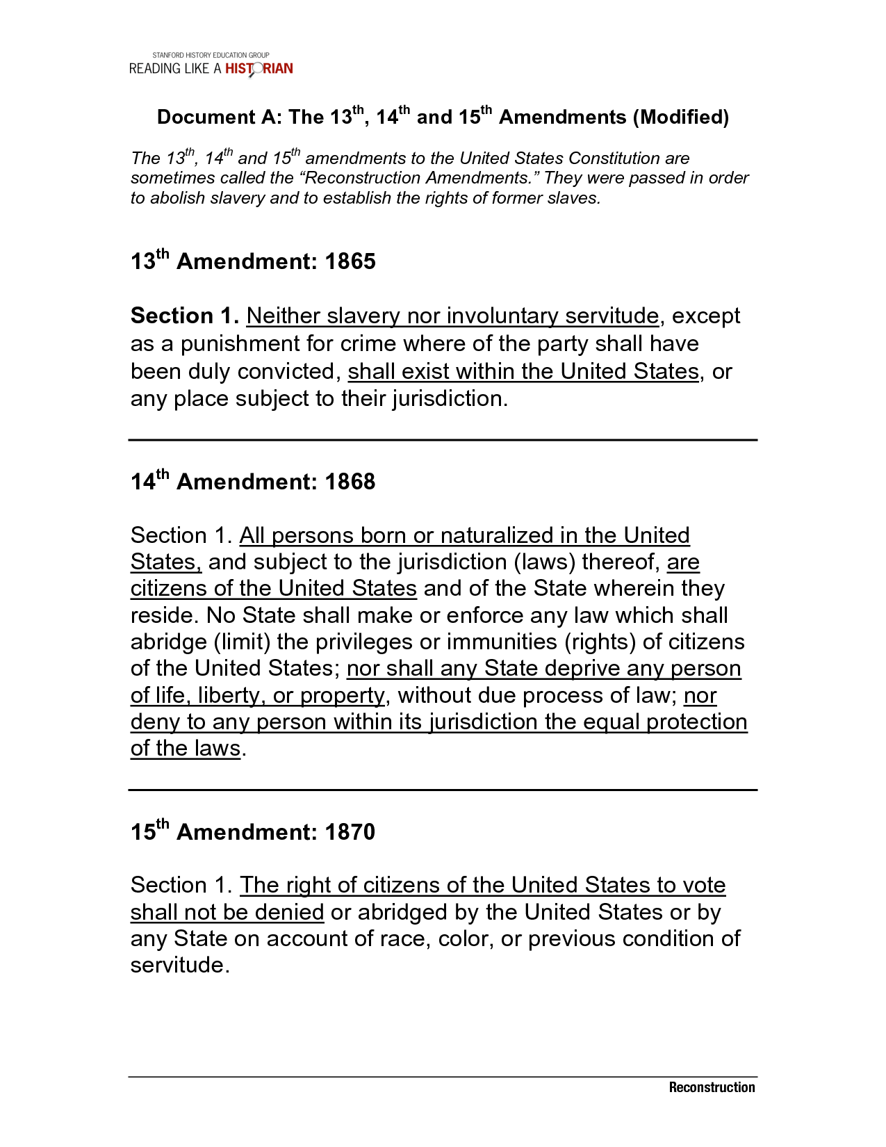 16 Best Images Of 13 14 15 Amendments Worksheet