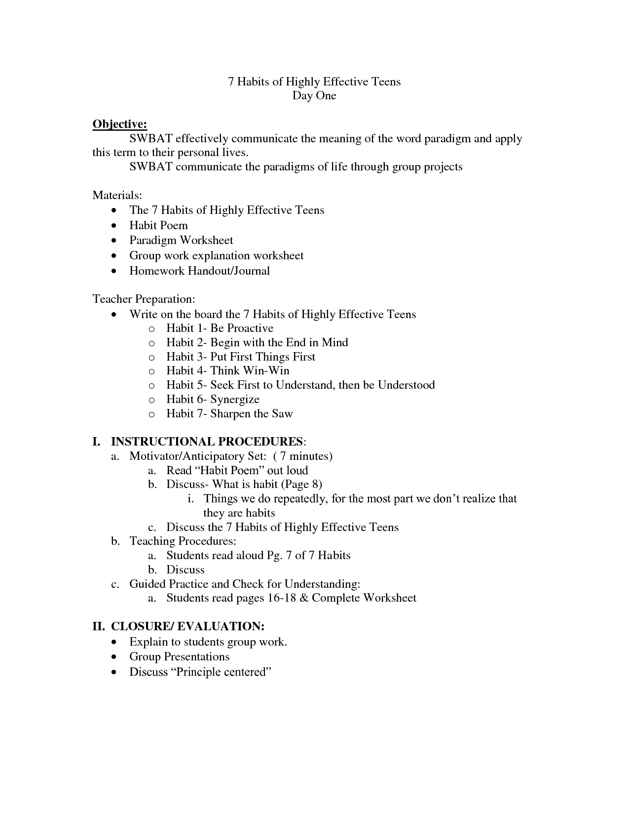 7 Habits Worksheet For Teens