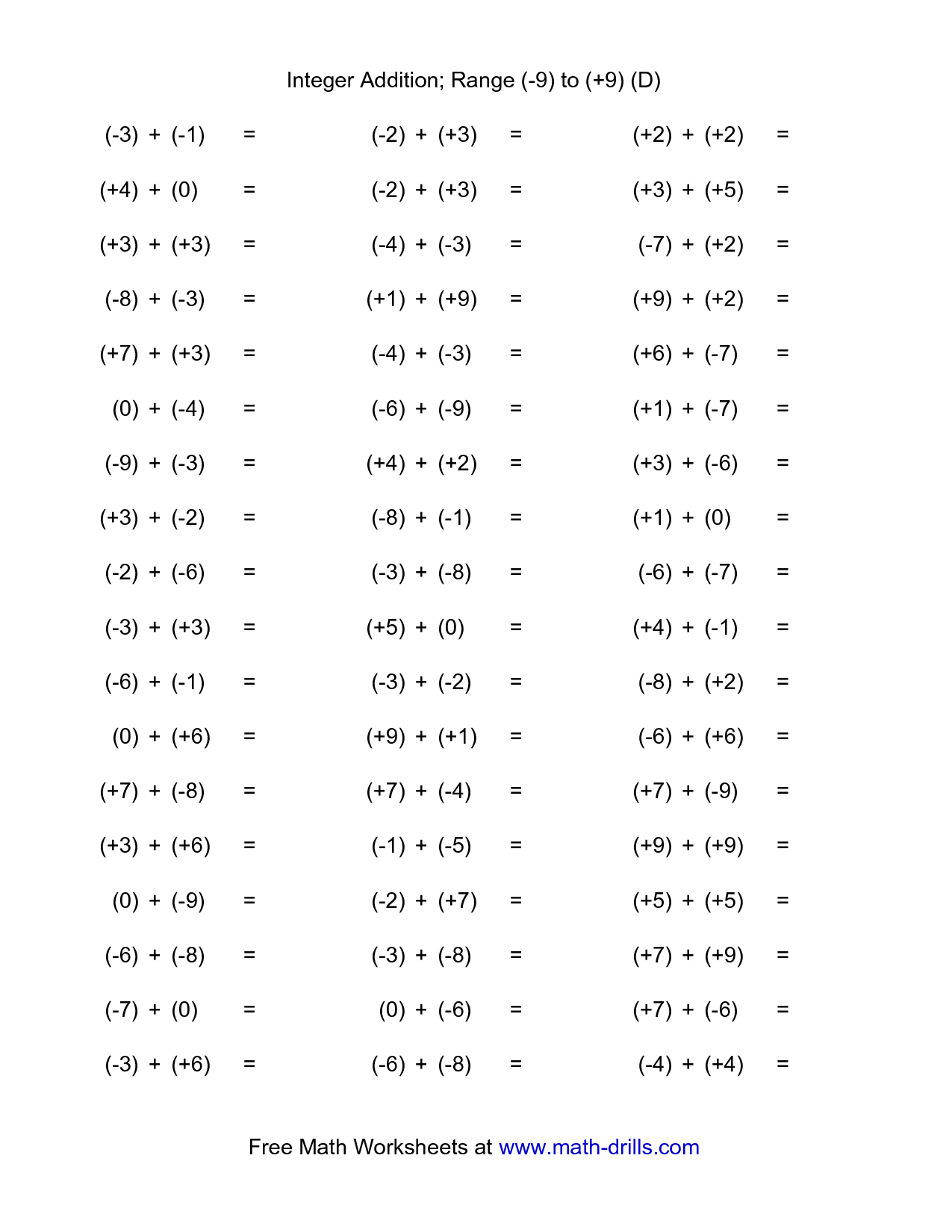 15 Best Images Of Adding Subtracting Integers Worksheet