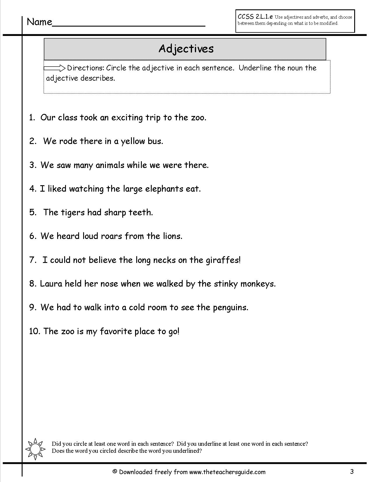 13 Best Images Of Worksheets For How Many Adjectives