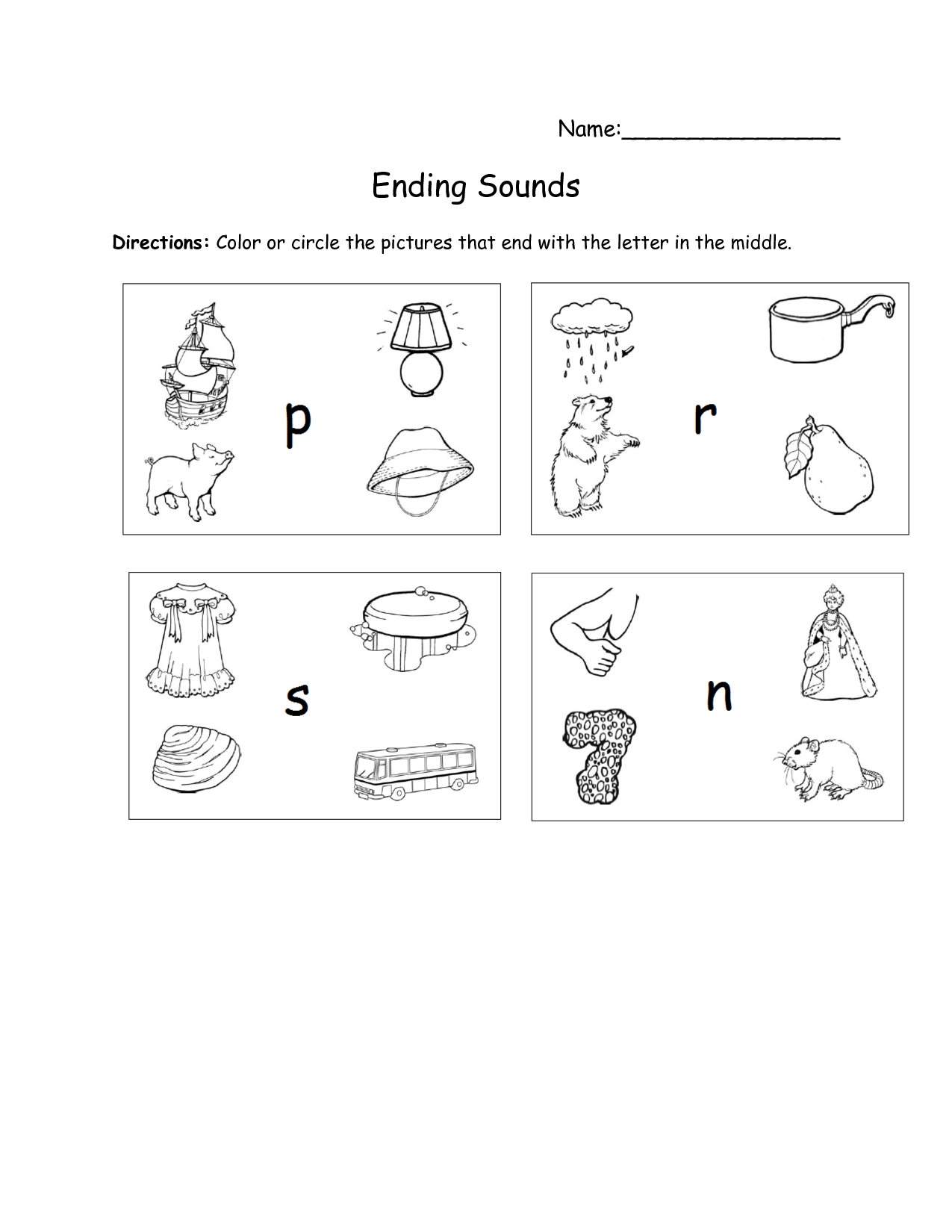 Ending Sounds Worksheet For Preschool