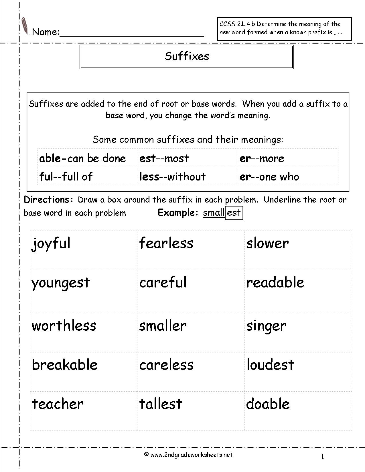 Suffixes Worksheet For 4th Grade