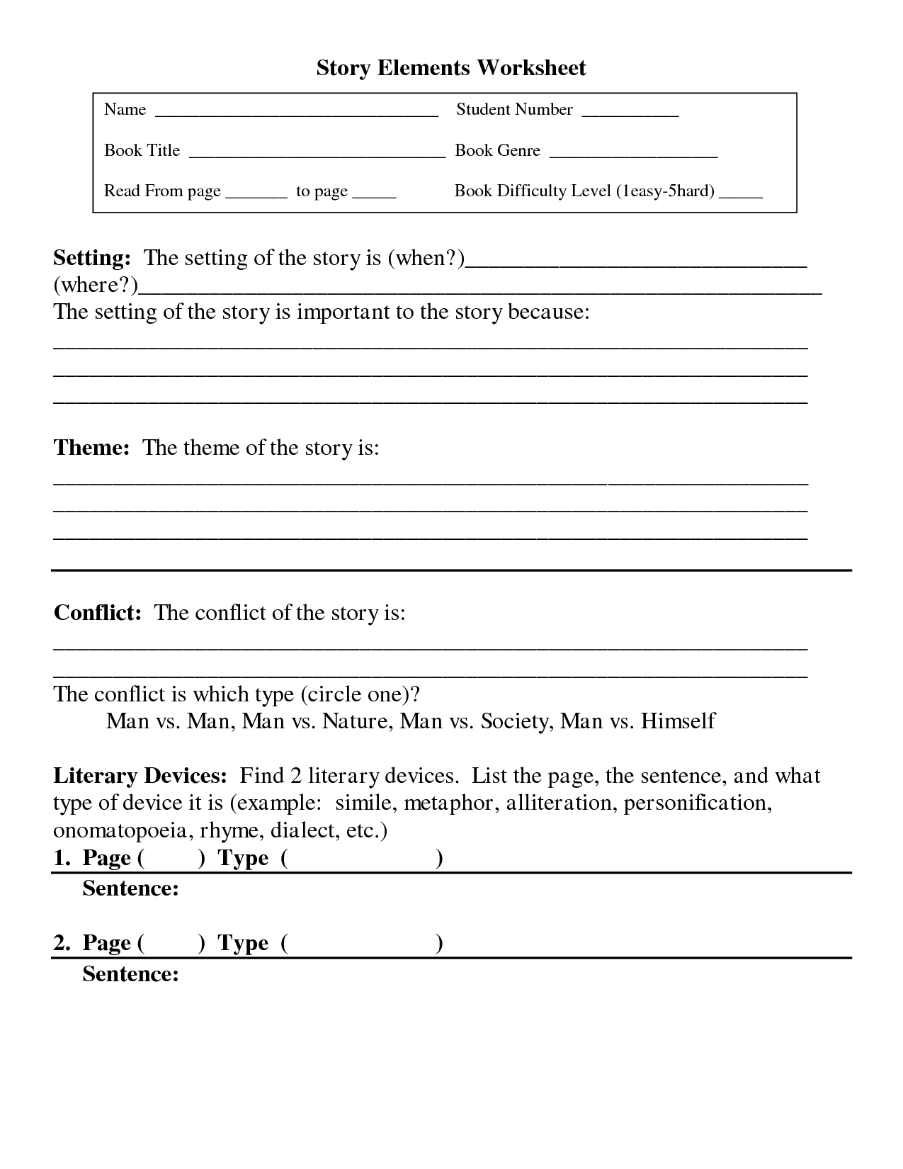 15 Best Images Of Literary Elements Worksheets