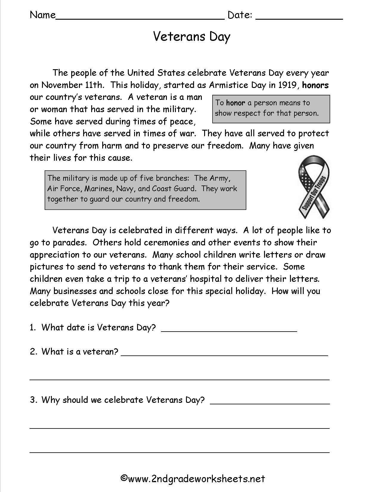 14 Best Images Of Veterans Day Worksheets For Elementary