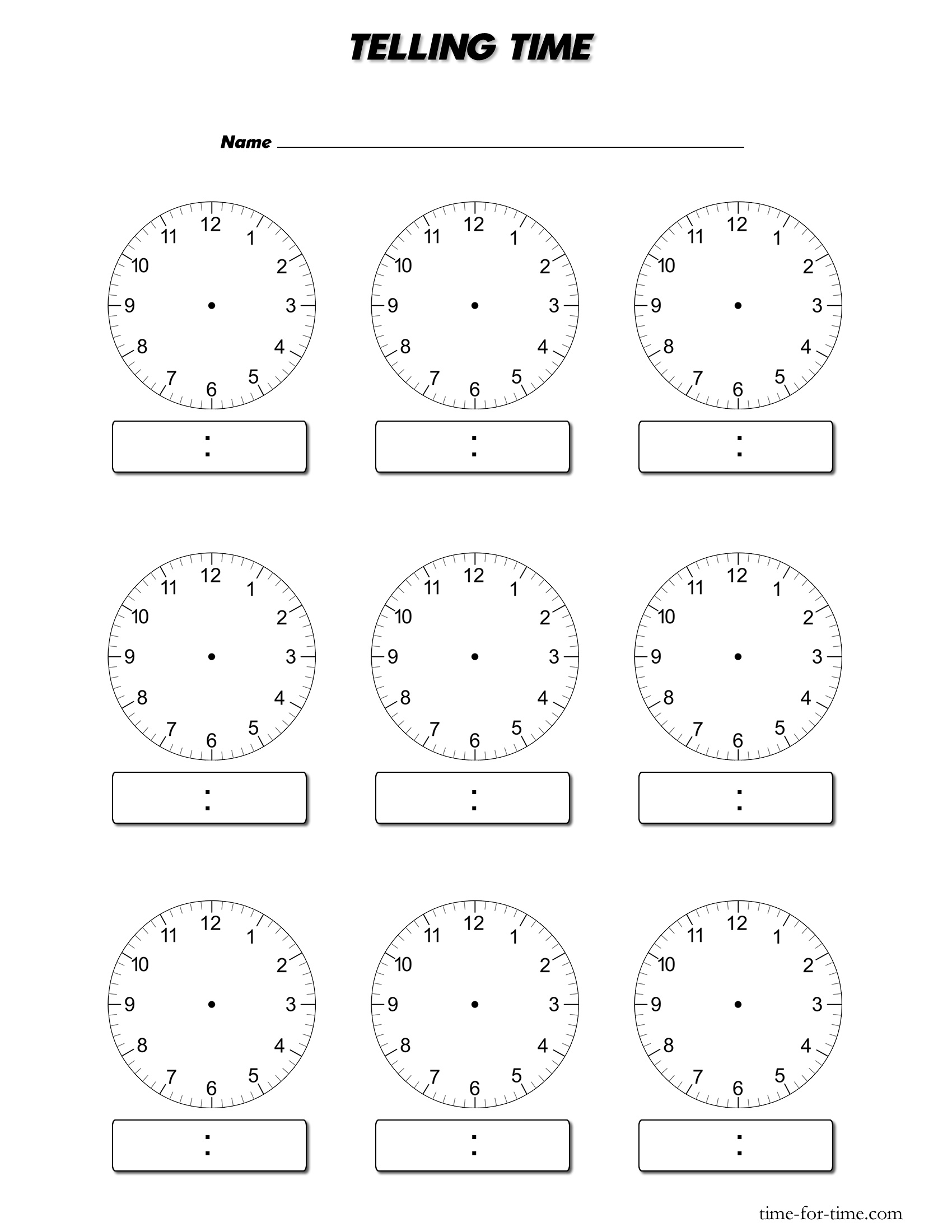 15 Best Images Of Blank Clock Worksheets
