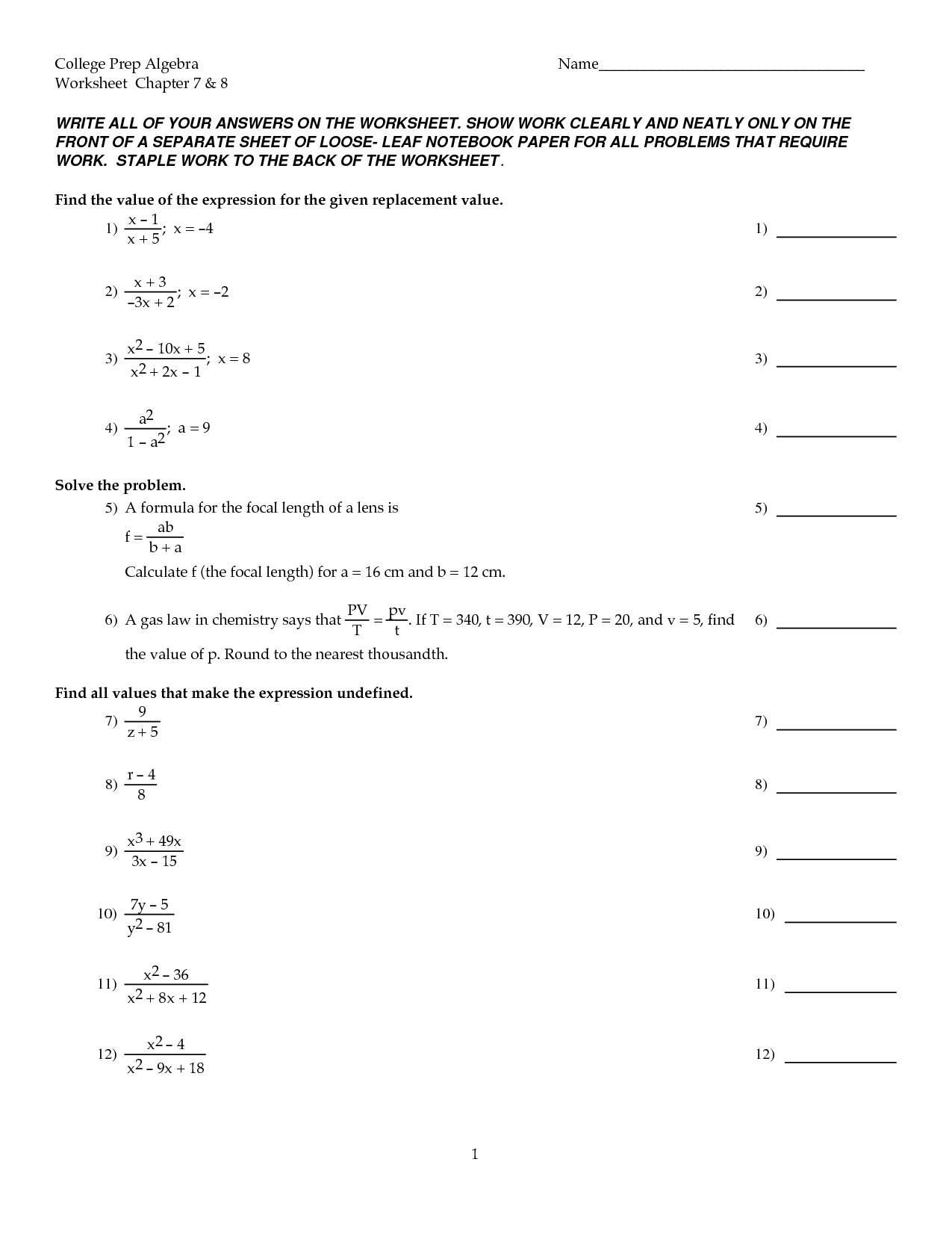 11 Best Images Of Algebra 1 Worksheets Chapter 8