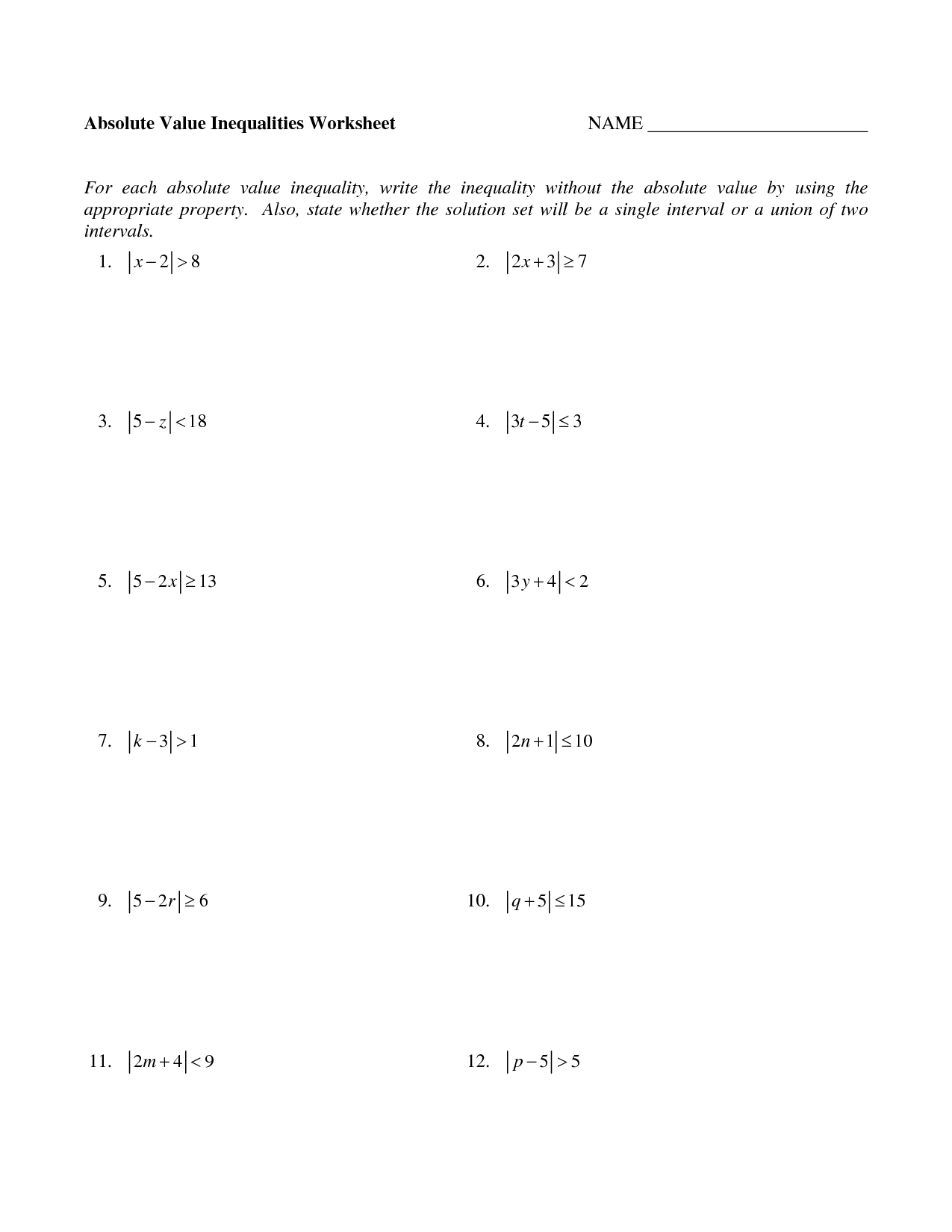 12 Best Images Of Solving Problems Algebraically Worksheet