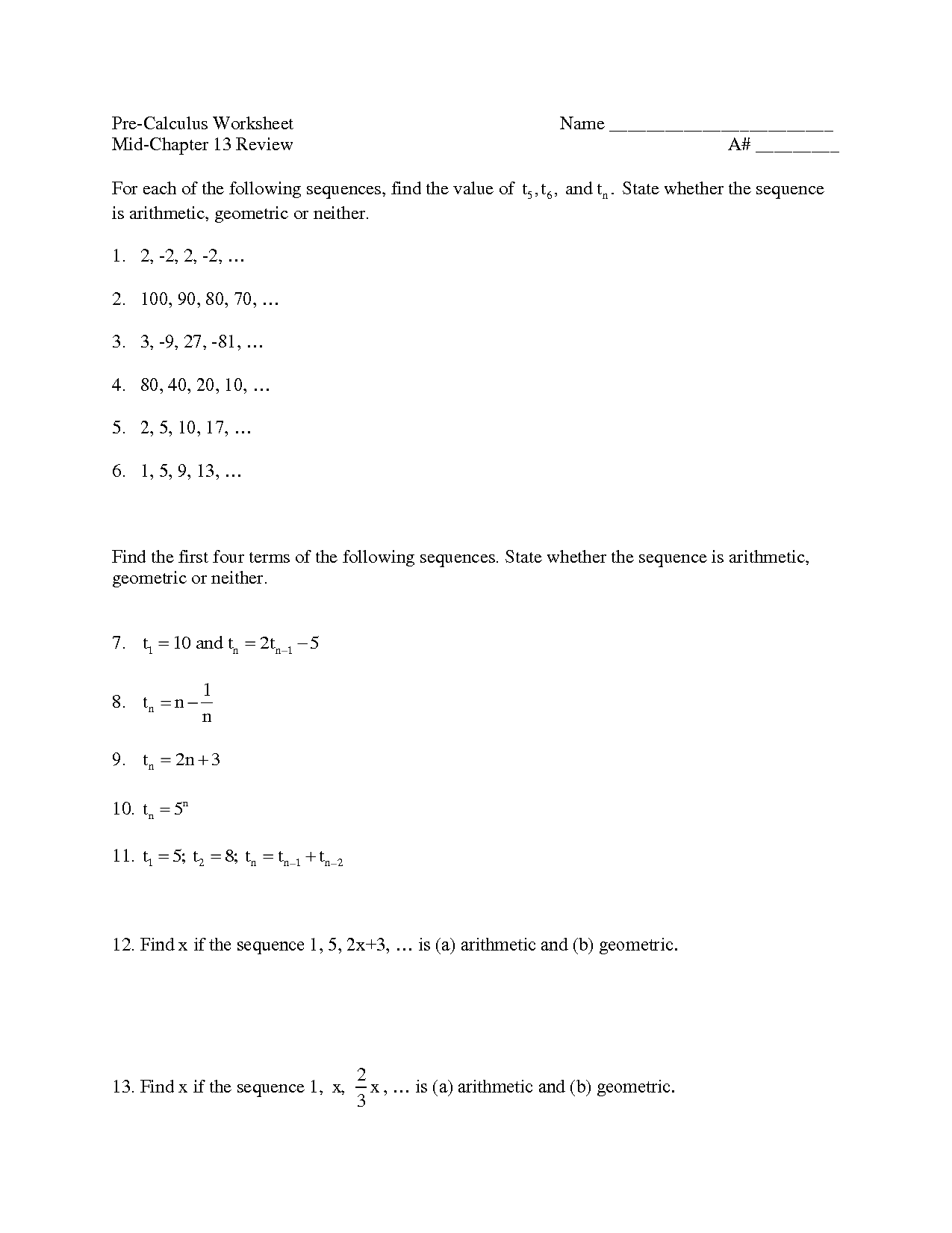 8 Best Images Of Pre Calculus Worksheets
