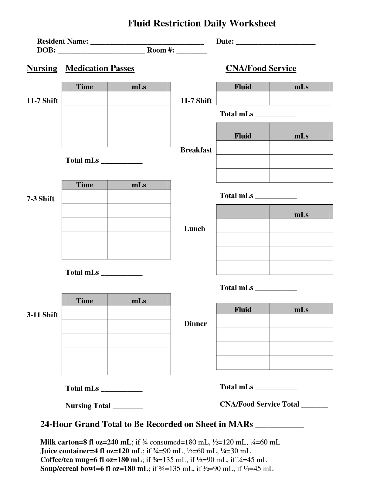 Cna Daily Worksheet