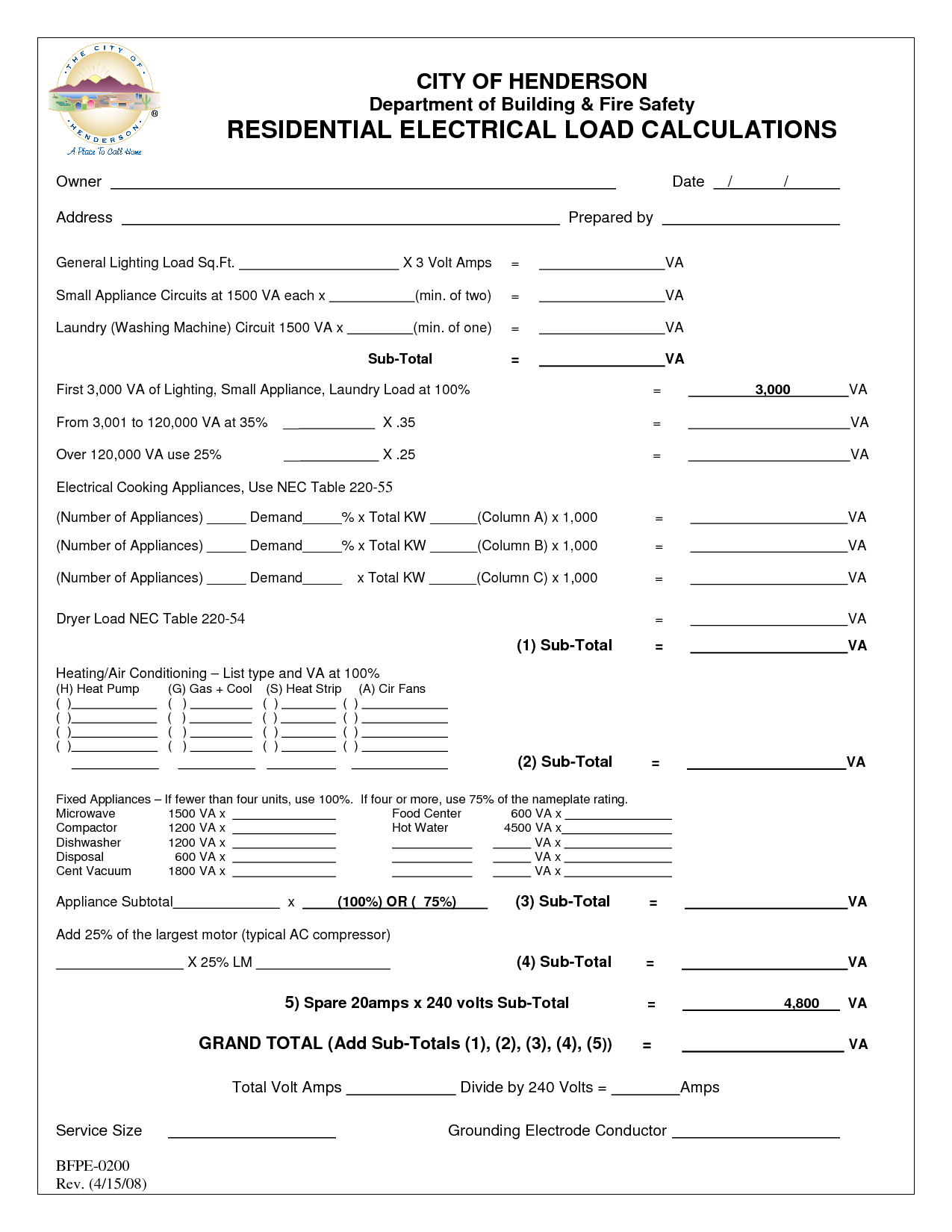 Residential Load Calculation Worksheet
