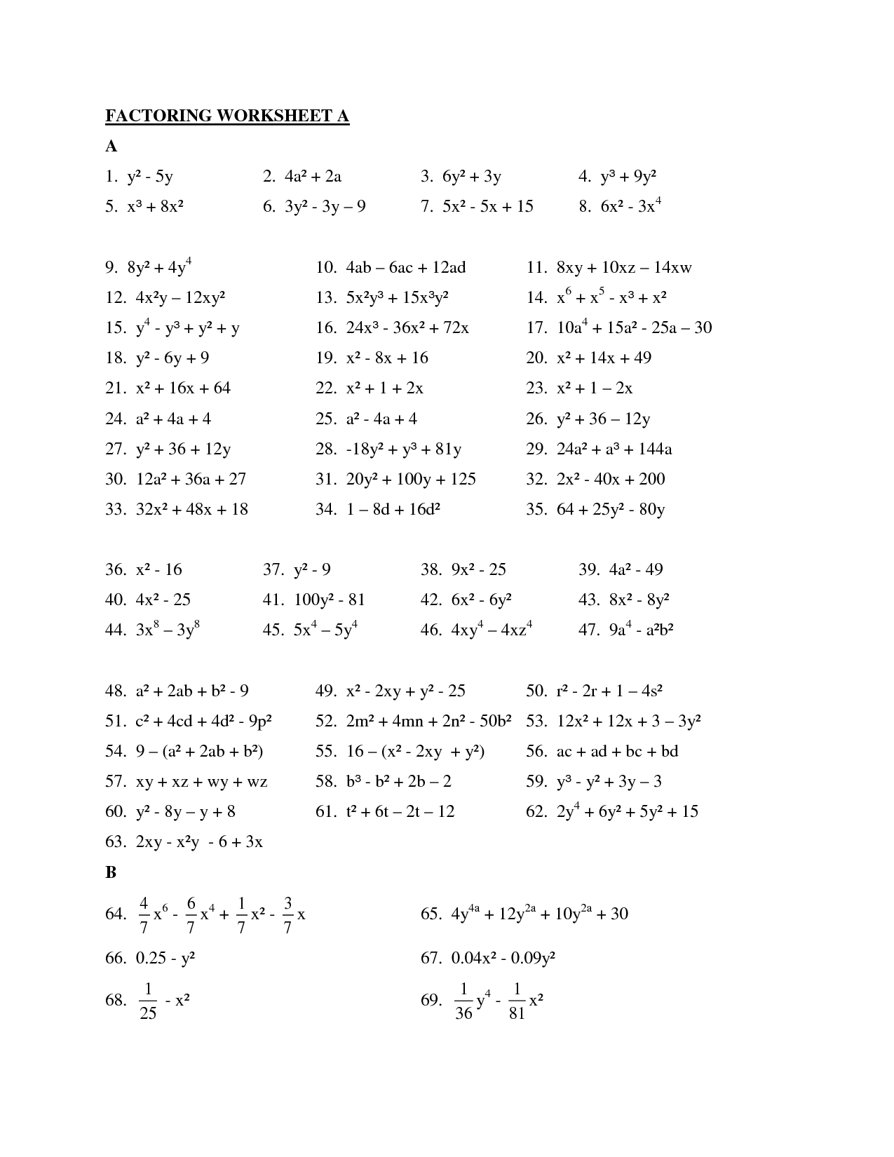 Worksheet Factoring Trinomials