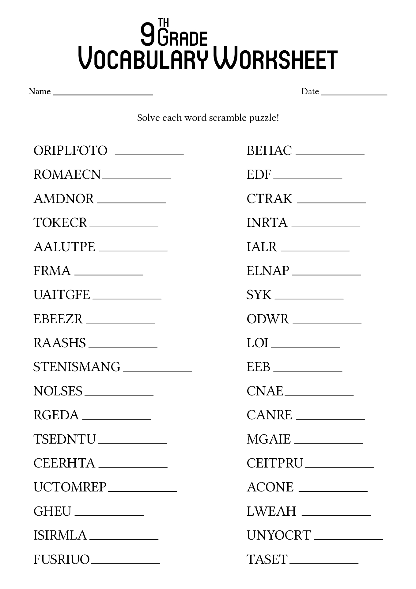 17 Best Images Of 9th Grade Worksheets Spelling Words