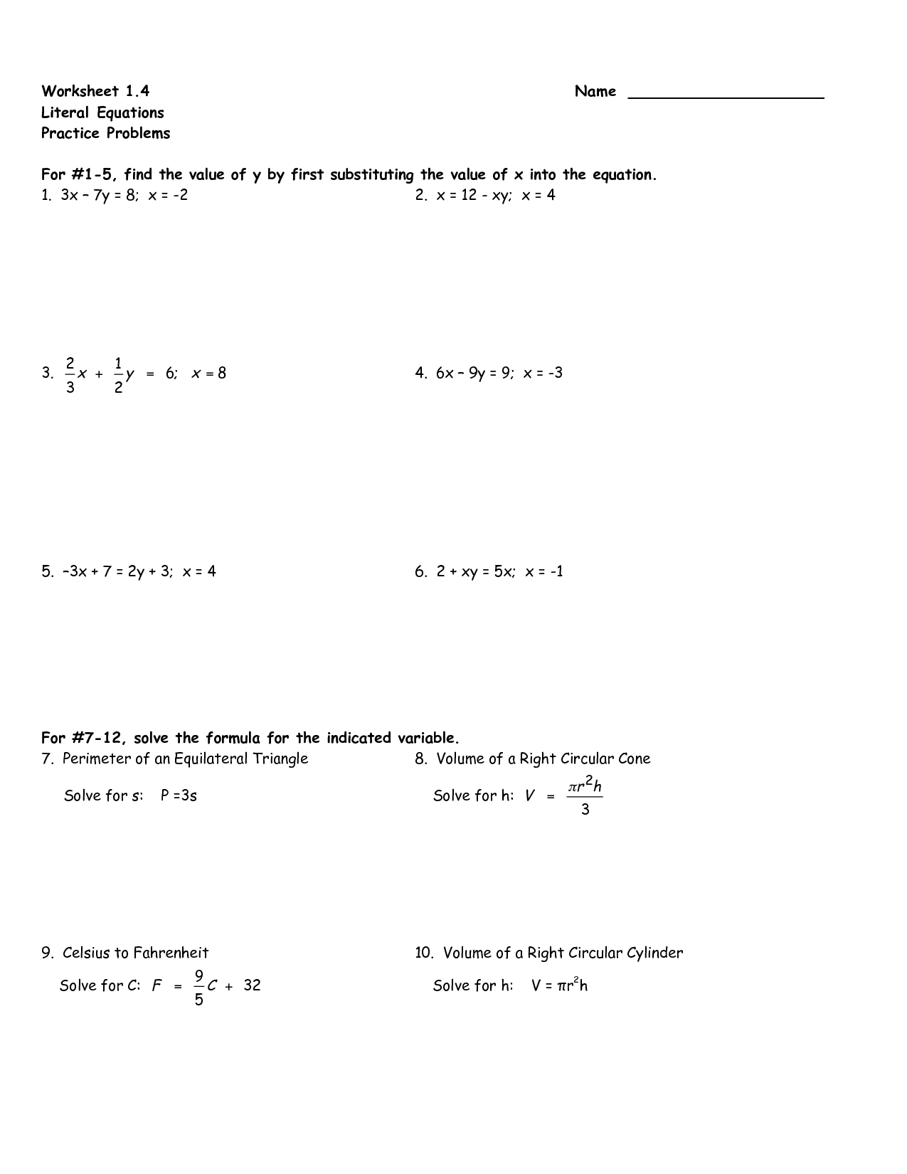 Algebraic Equations Worksheet