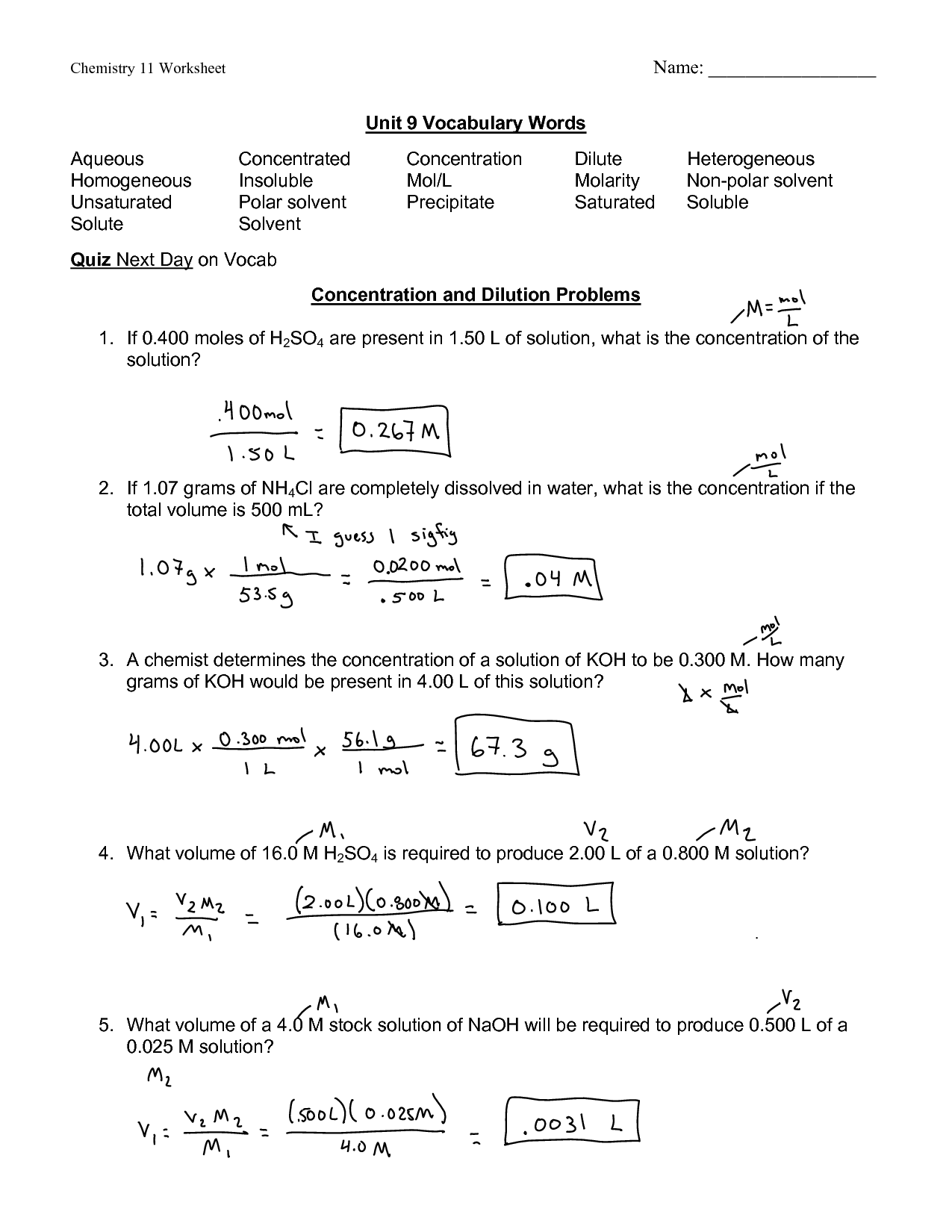 Solutions Concentration Worksheet