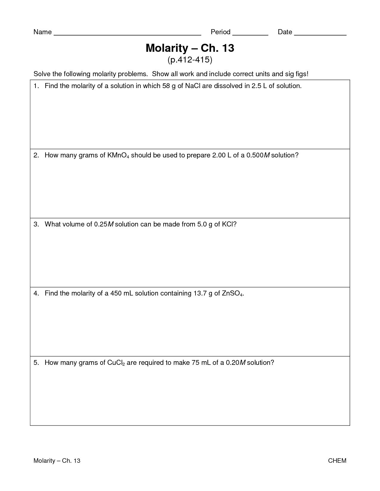 Molarity Worksheet Answer Key Chemistry