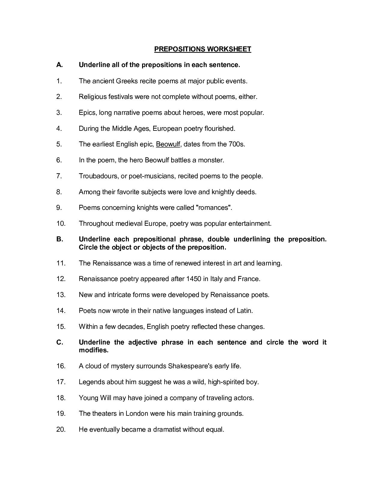 Printable Preposition Worksheets 6th Grade
