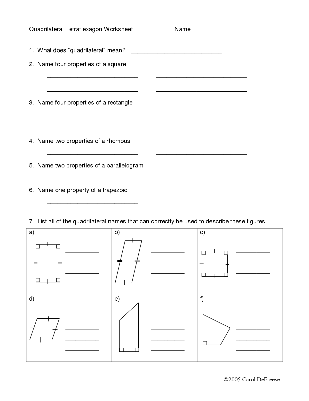 13 Best Images Of Printable Worksheets On Quadrilaterals