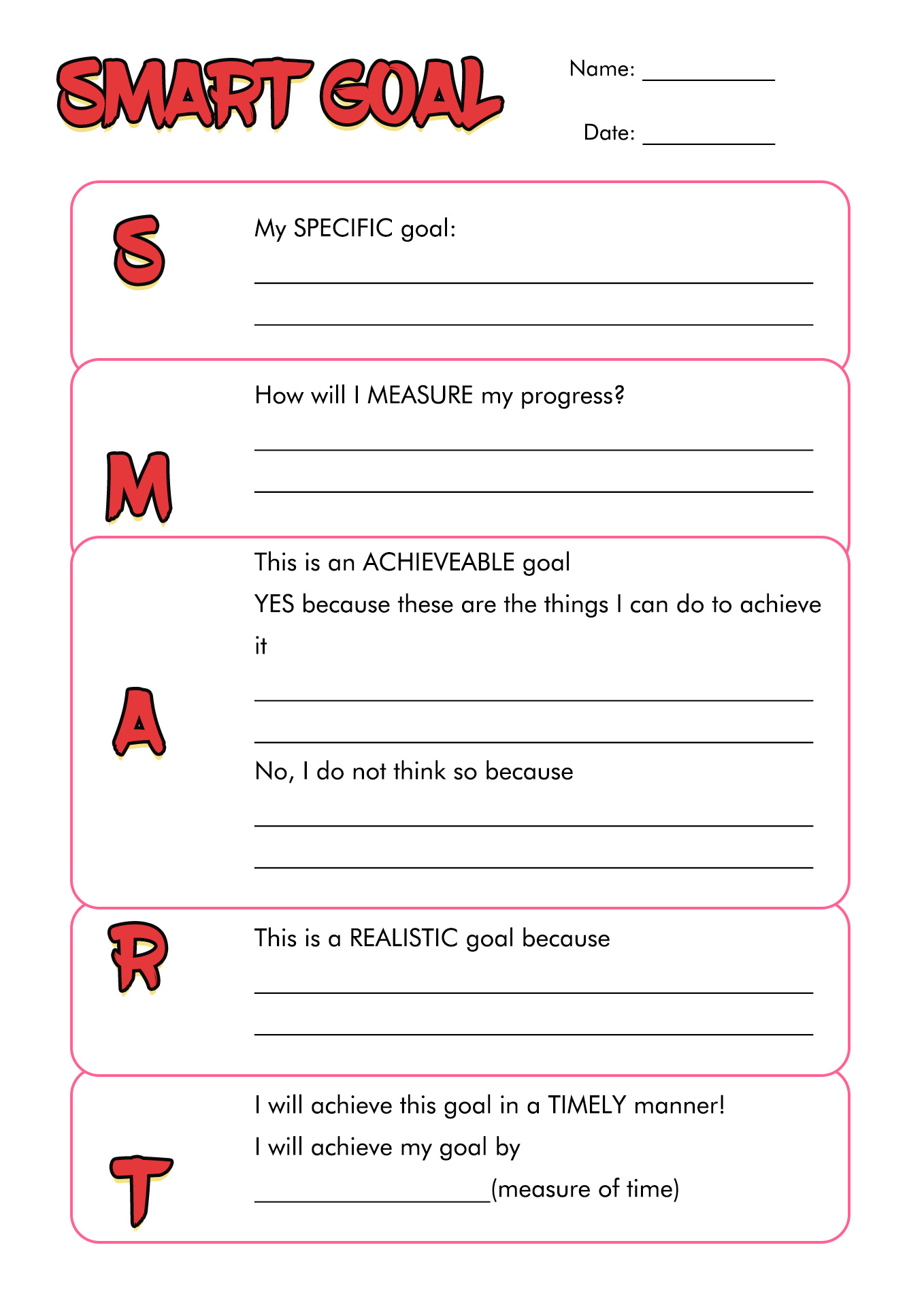 17 Best Images Of Middle School Student Goals Worksheet