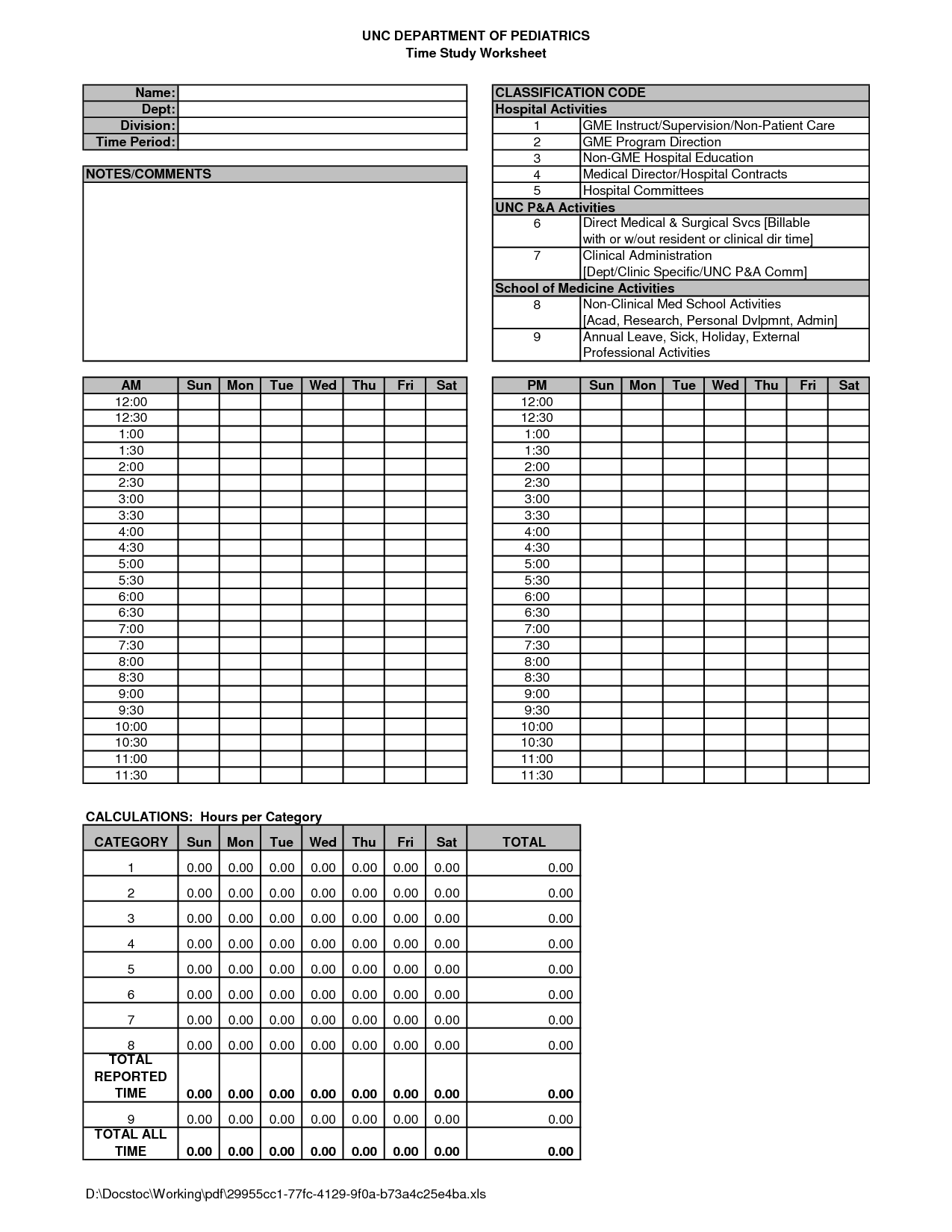Time Study Worksheet Template