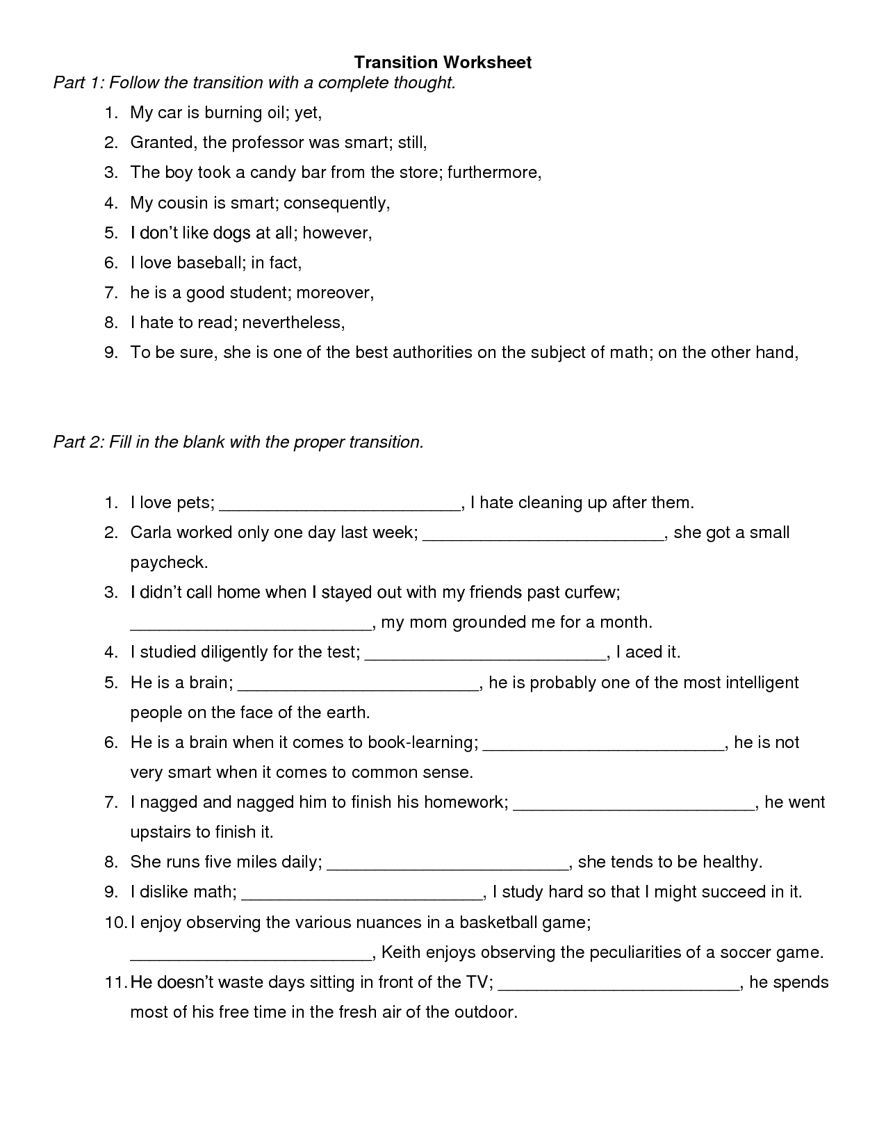 33 Transition Words Worksheet High School