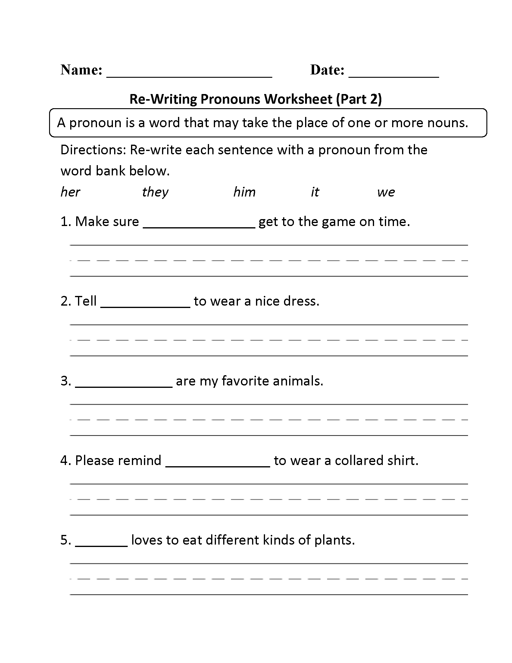 15 Best Images Of Subject Pronouns Worksheet 4th Grade