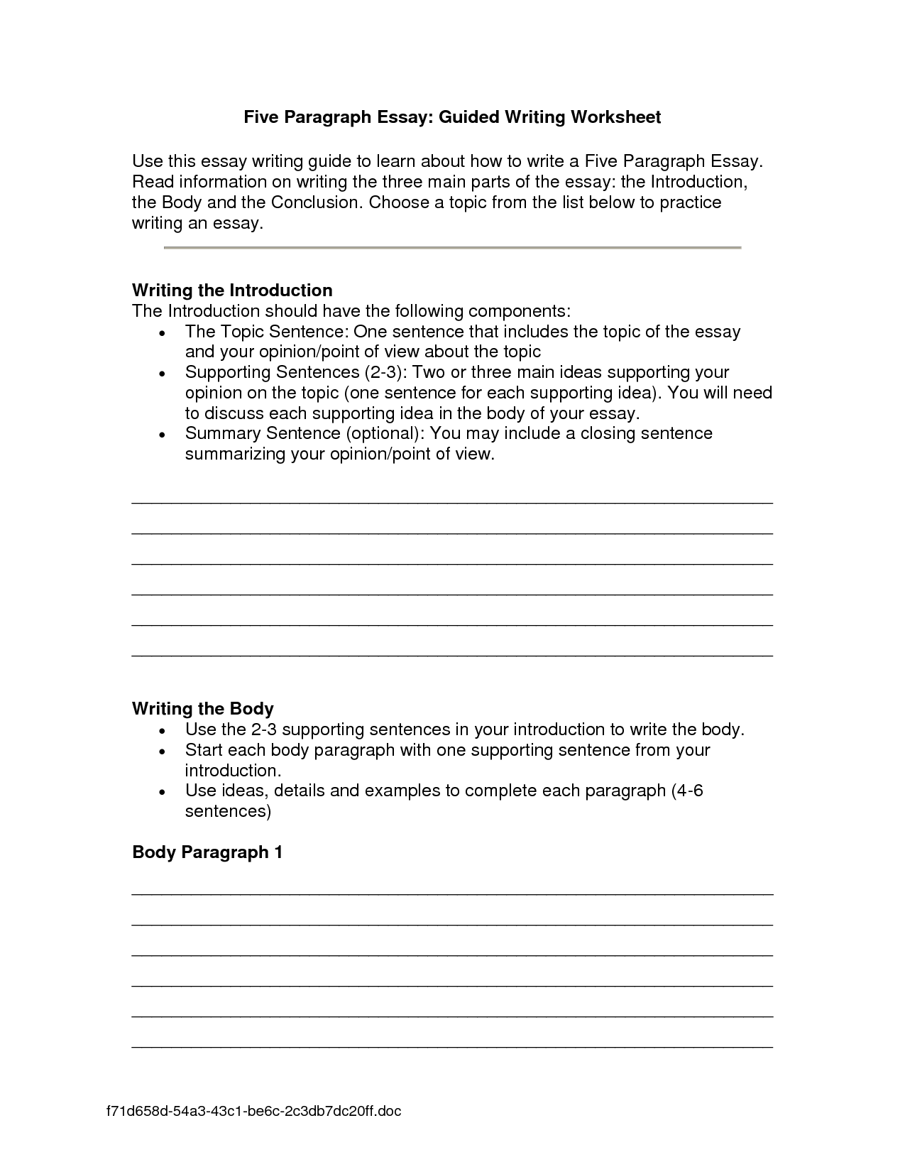 13 Best Images Of Paragraph Writing Worksheets