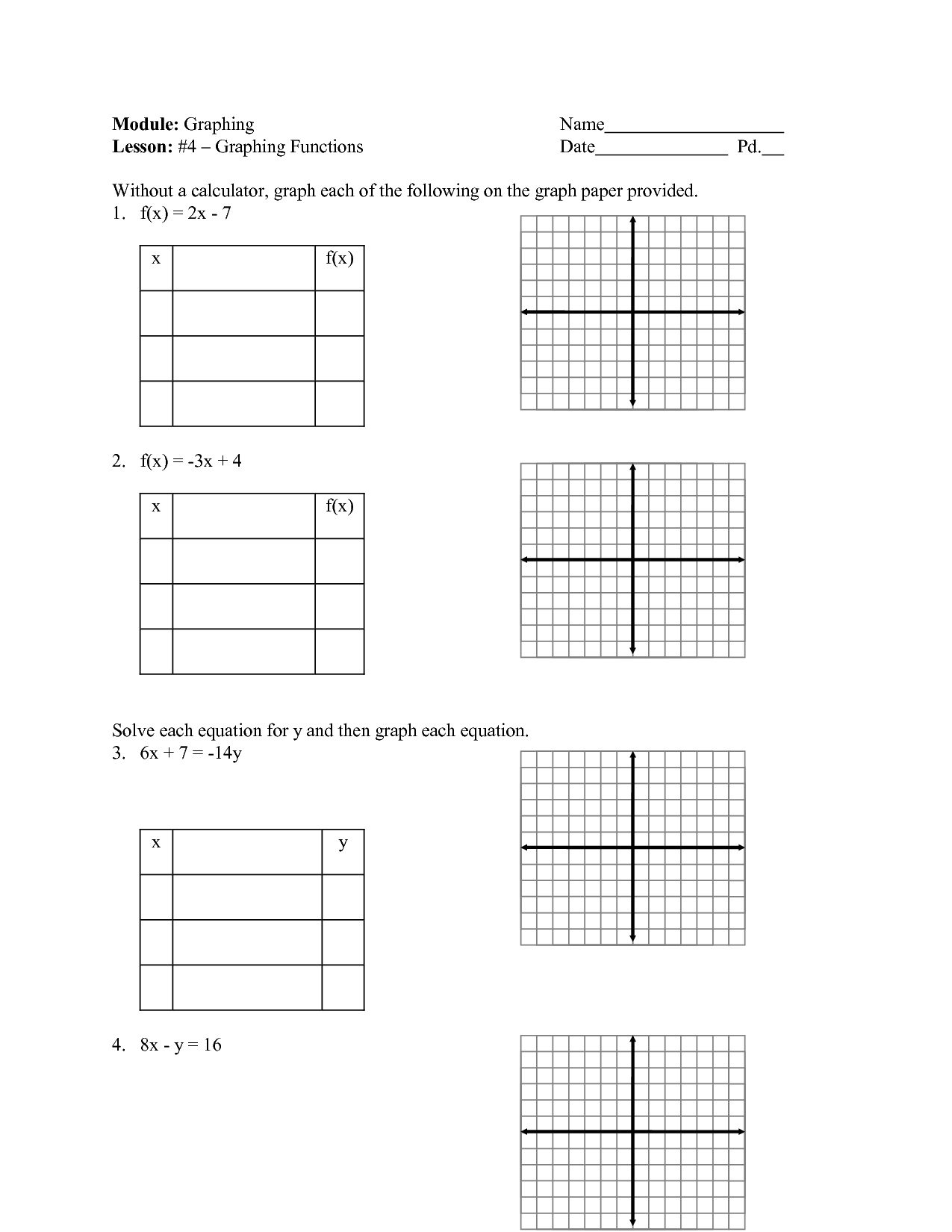 Tables Graphs Equations And Functions Worksheet
